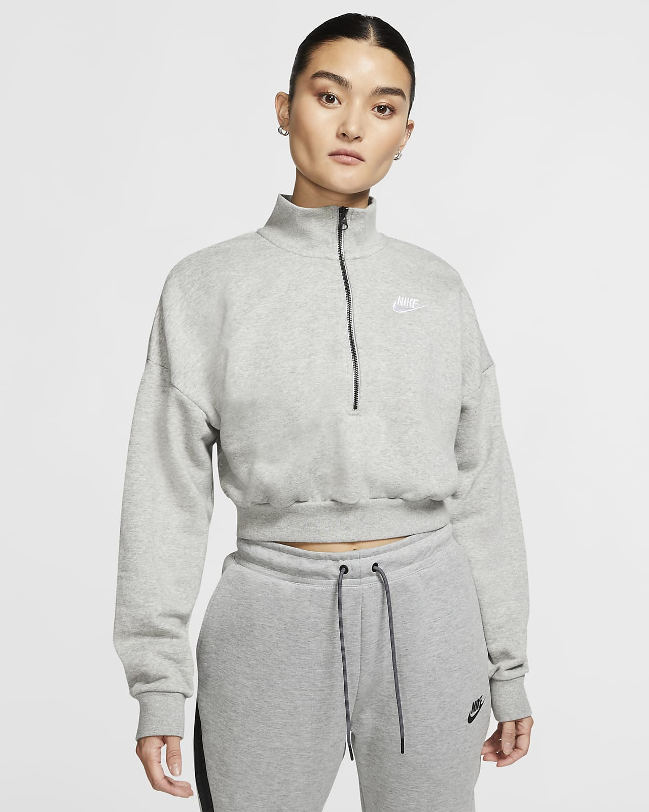Maglia corta a manica lunga in fleece Nike Sportswear Essential - Donna