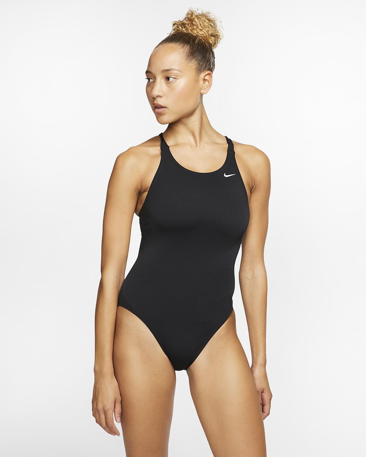 Nike Poly Solid einteiliger Fastback-Badeanzug für Damen