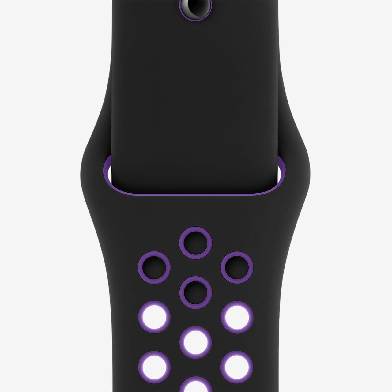 44 毫米黑/超级葡萄紫 Nike 运动表带 - 标准号
