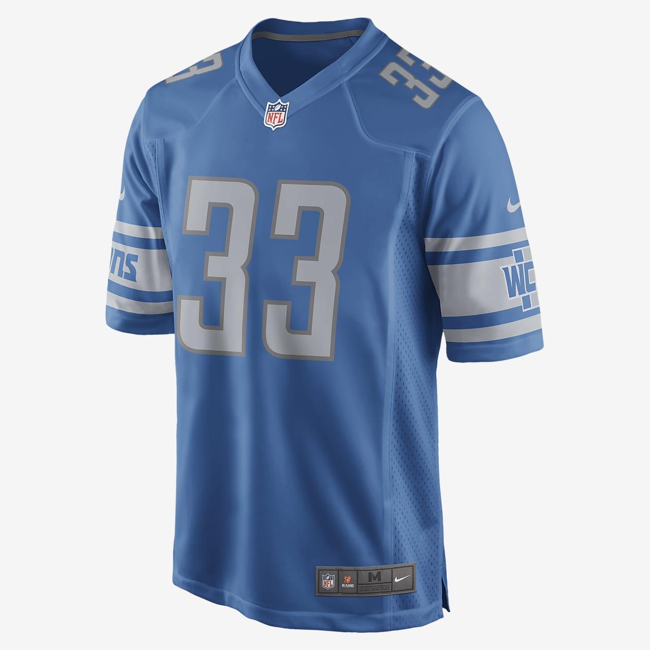 NFL Detroit Lions (Kerryon Johnson) Men's Game Football Jersey