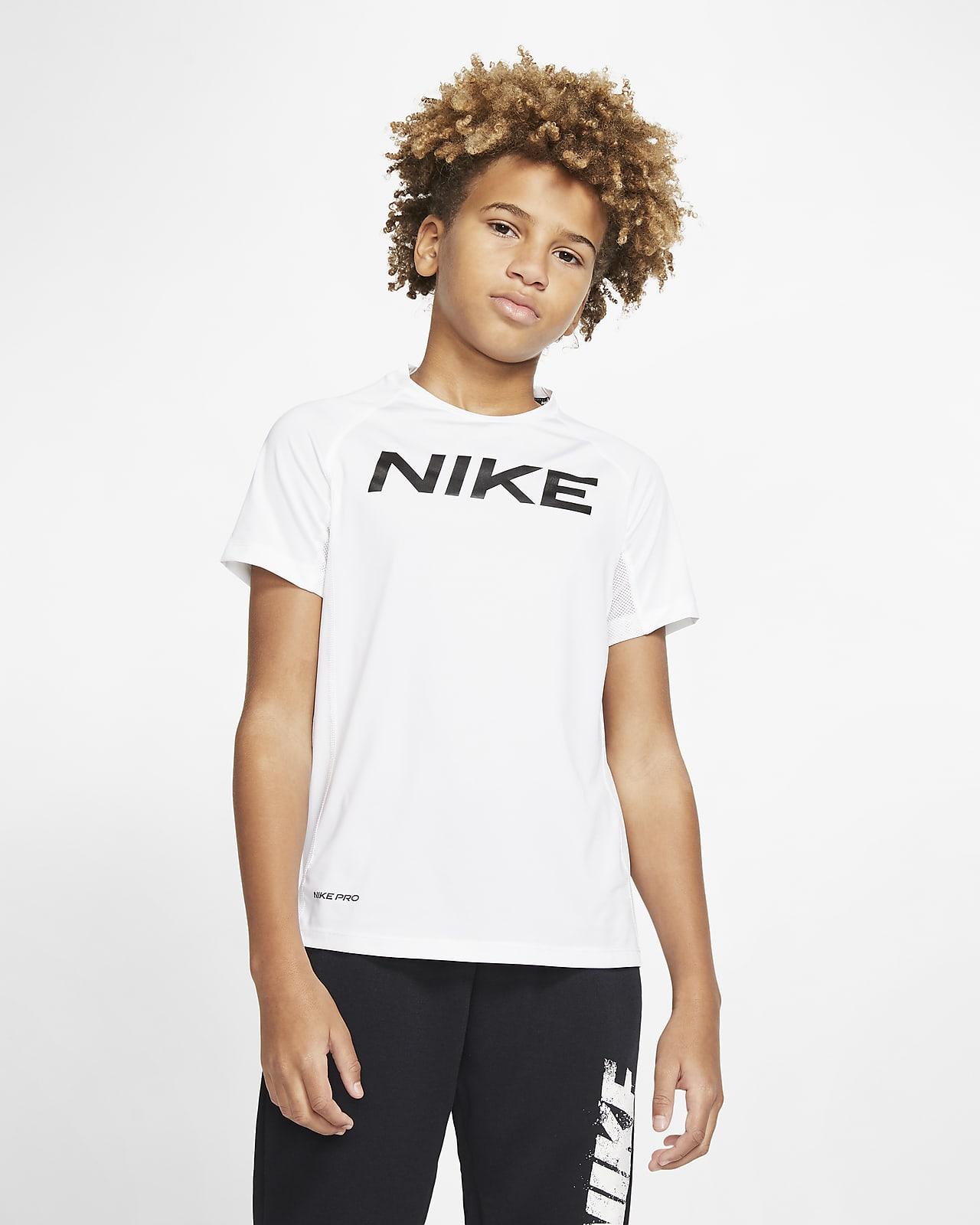 Prenda para la parte superior de entrenamiento de manga corta para niño talla grande Nike Pro