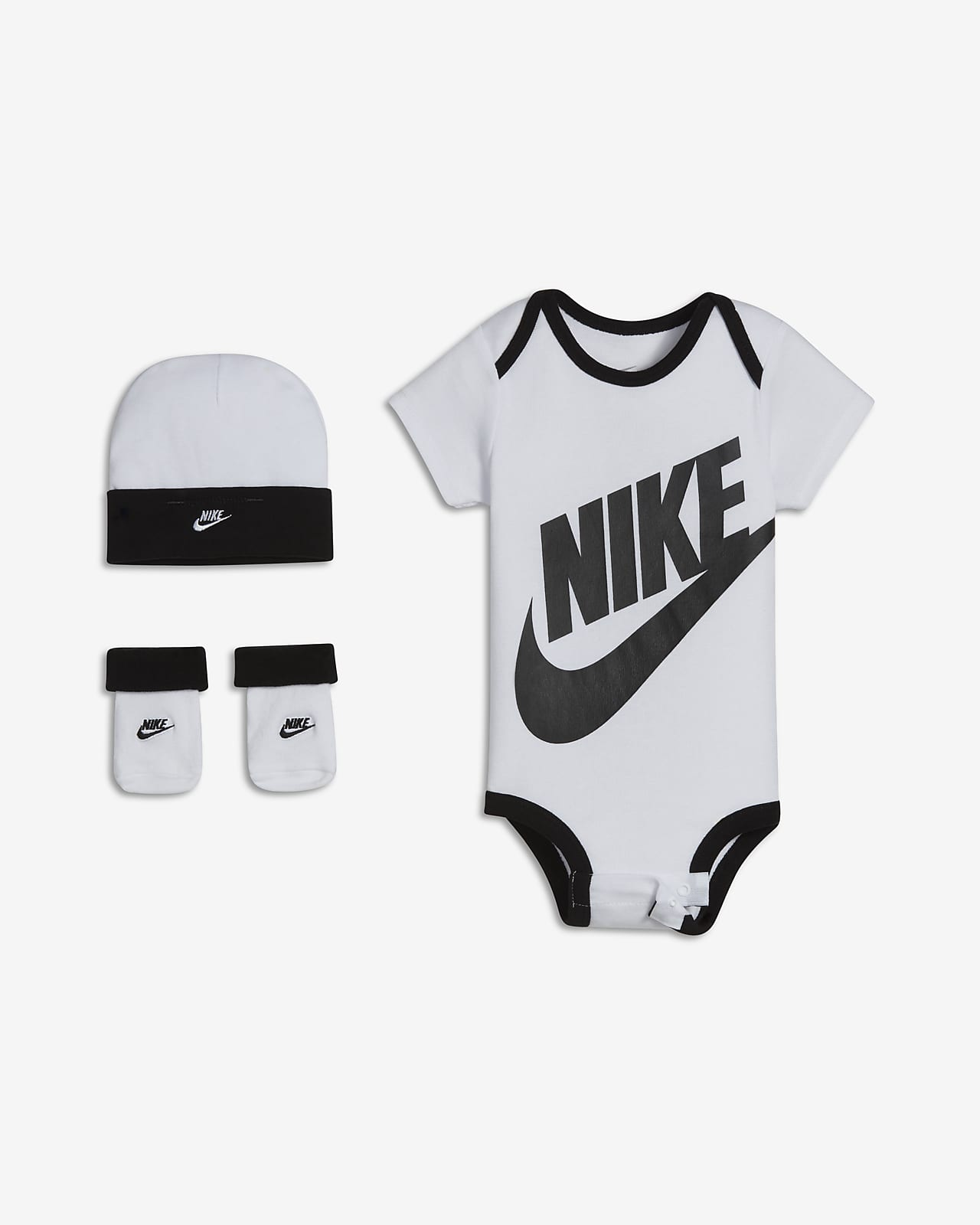 Nike Baby (6-12M) Bodysuit, Hat and Booties Box Set
