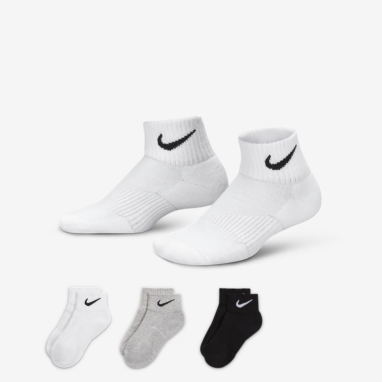 Nike Performance Cushion Quarter Older Kids' Socks (3 Pair)