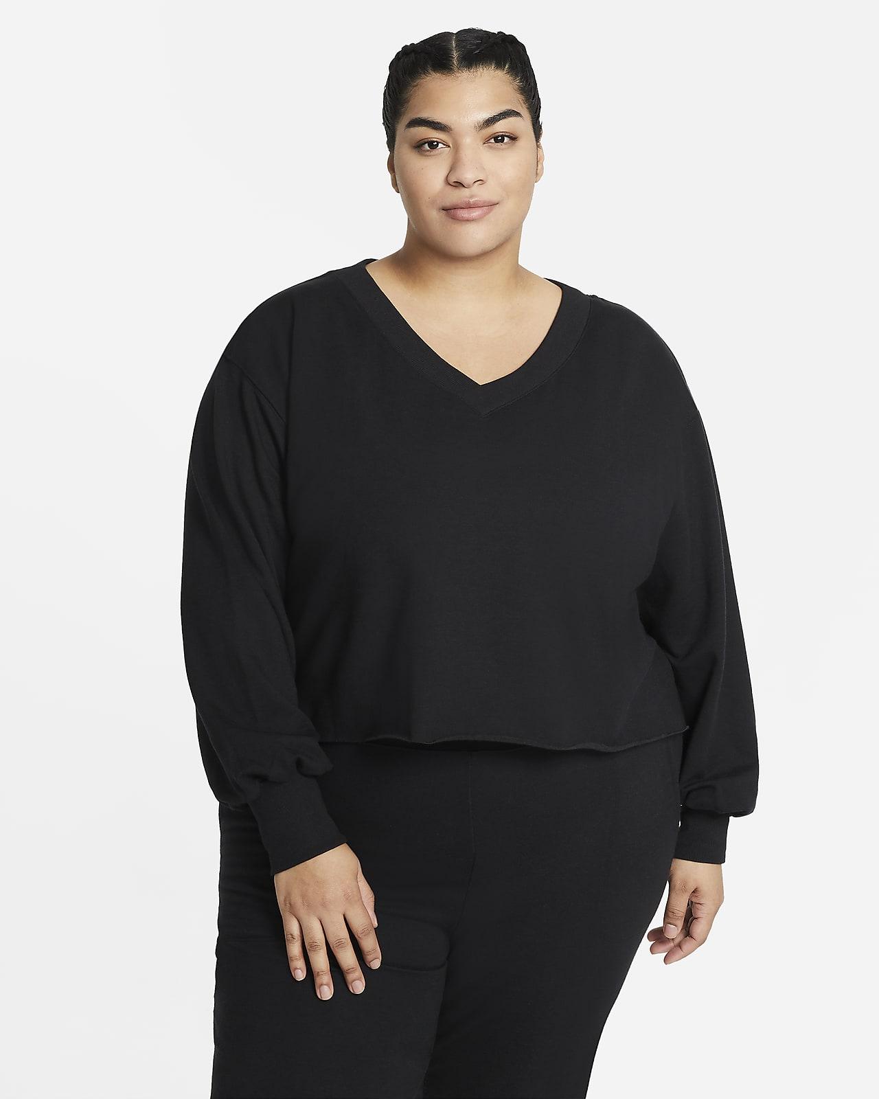 Nike Yoga Luxe Women's Fleece V-Neck Top (Plus Size)