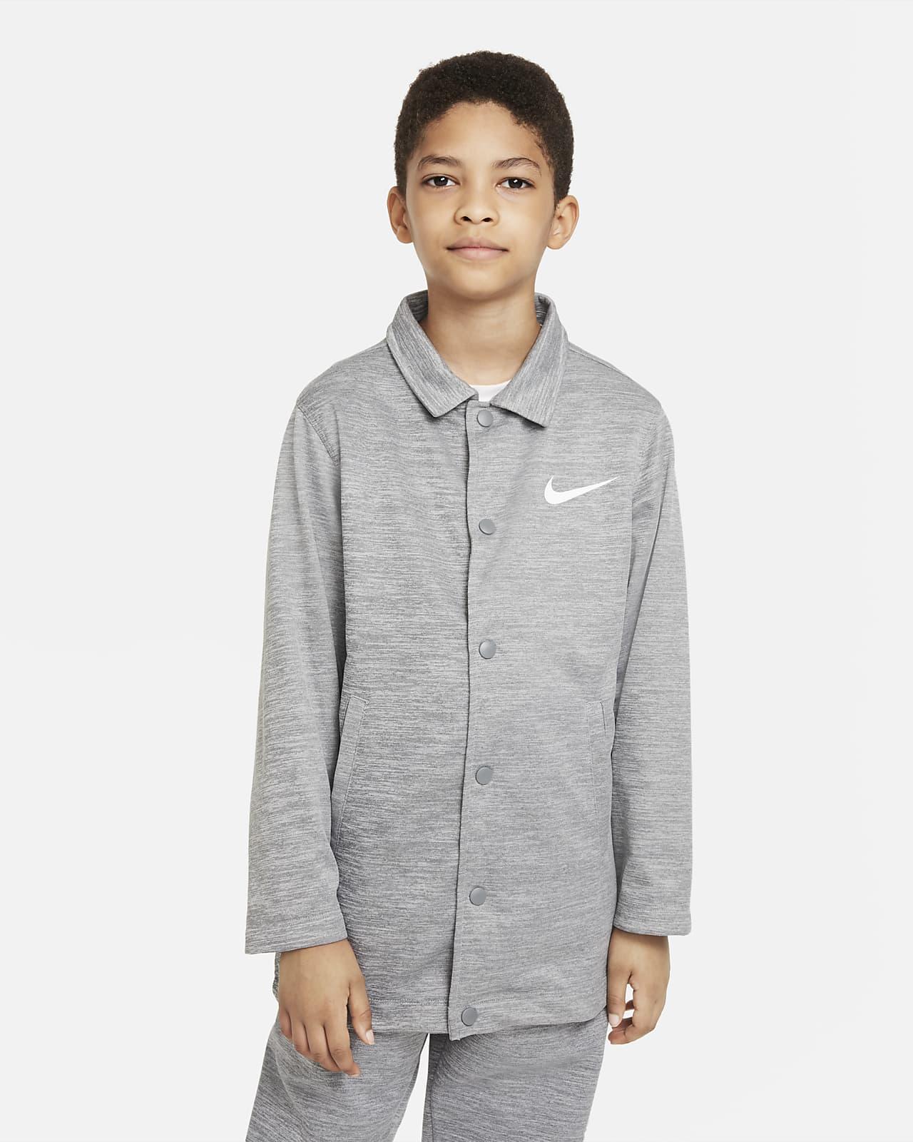 Chamarra de entrenador para niños talla grande Nike Therma-FIT