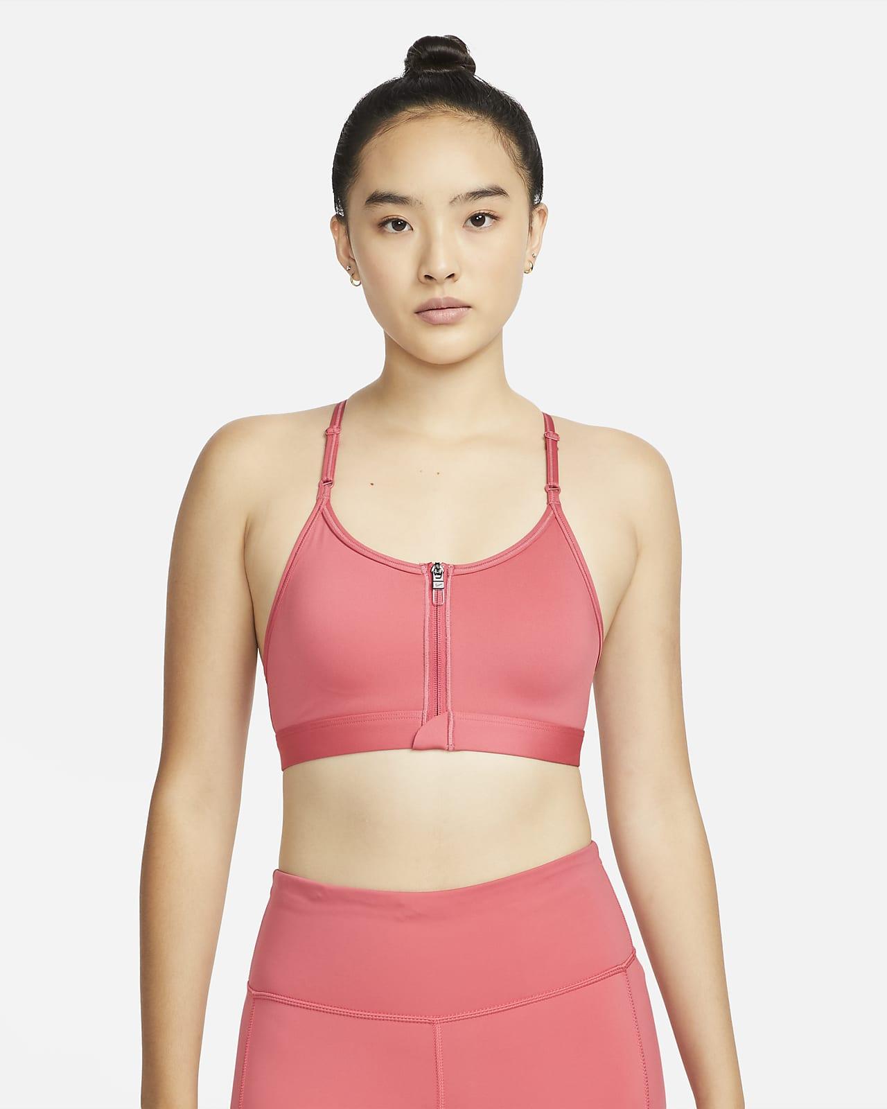 สปอร์ตบราผู้หญิงซัพพอร์ตระดับต่ำเสริมฟองน้ำ Nike Dri-FIT Indy Zip-Front