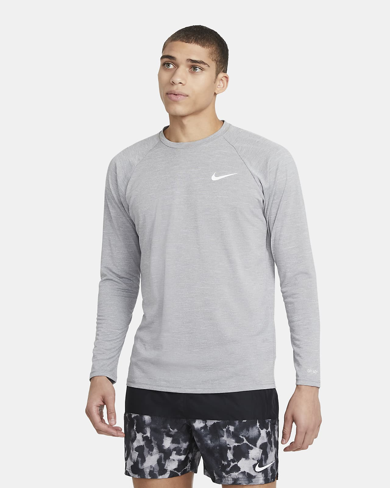 Nike Men's Heathered Long-Sleeve Hydroguard Swim Shirt