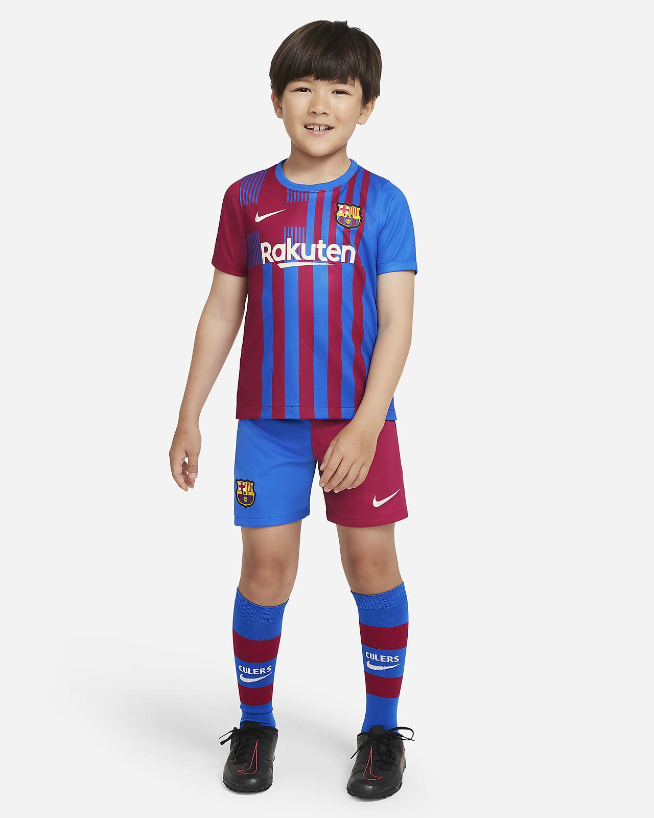 Kit de fútbol del FC Barcelona local 2021/22 para niños talla pequeña