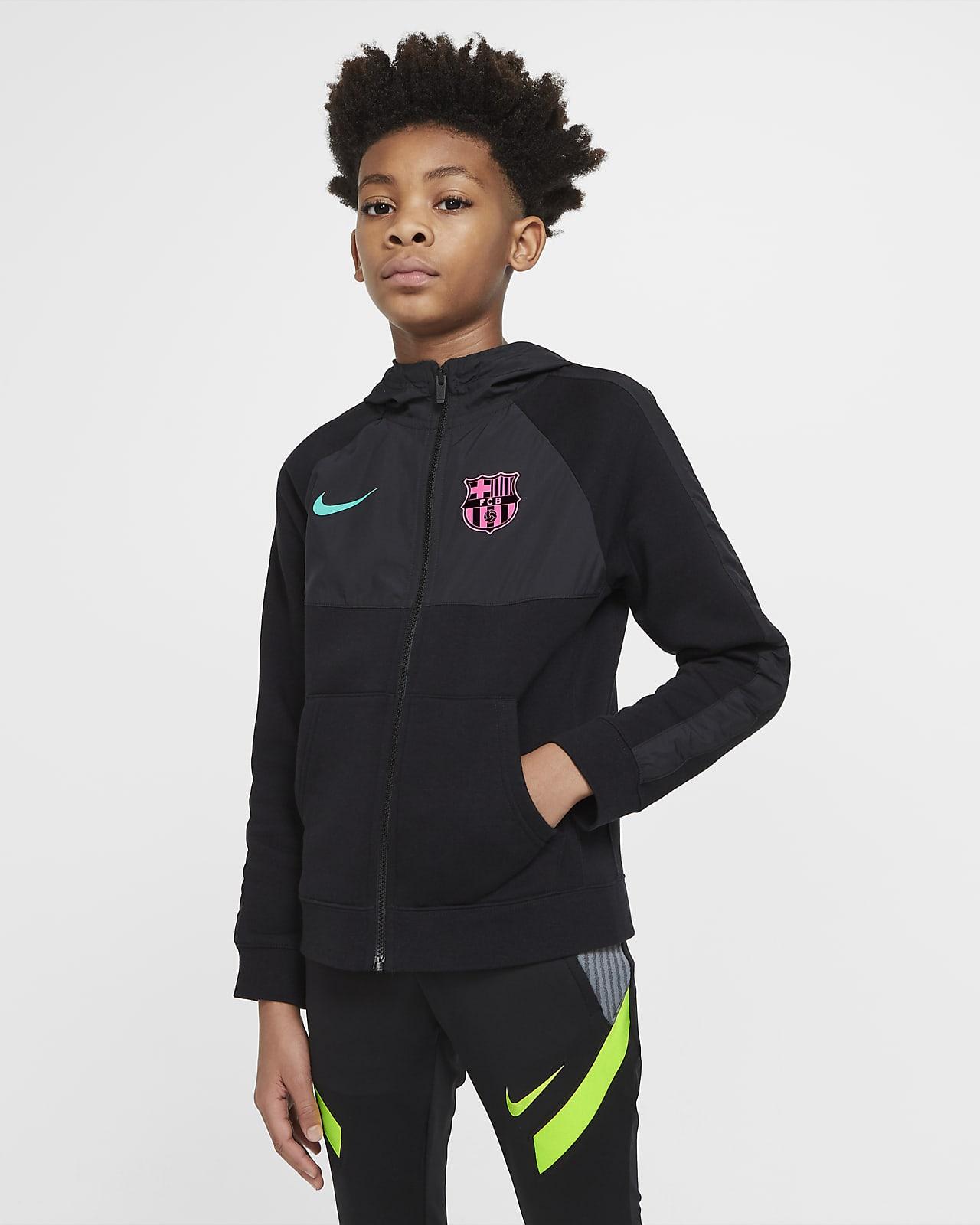FC Barcelona Fußball-Hoodie mit durchgehendem Reißverschluss für ältere Kinder