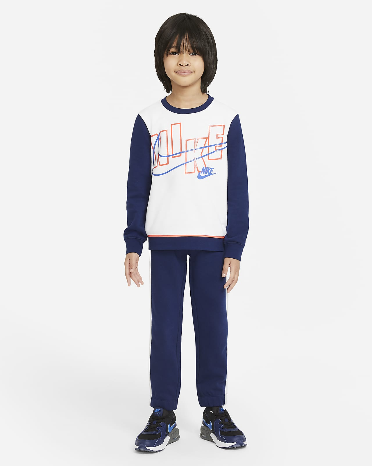 Nike Little Kids' Color-Block Crew and Joggers Set