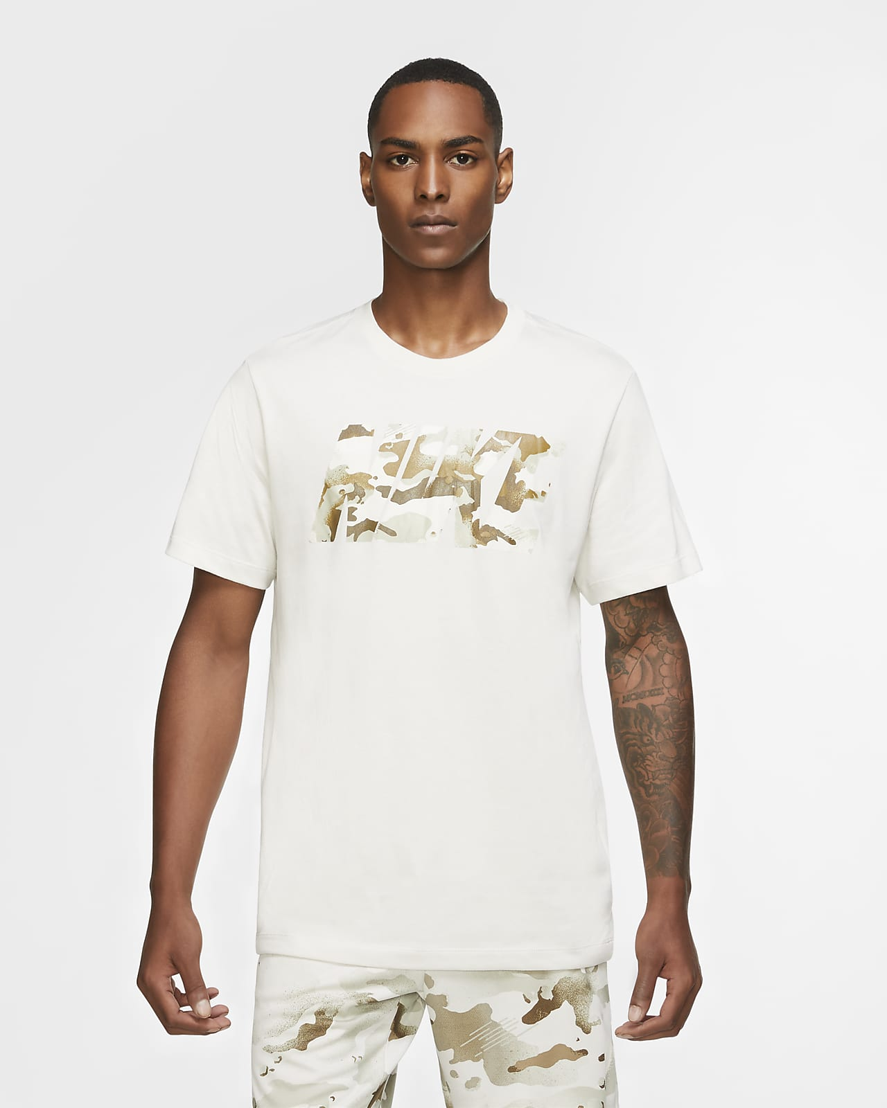 Tränings-t-shirt med kamouflagelogga Nike Dri-FIT för män