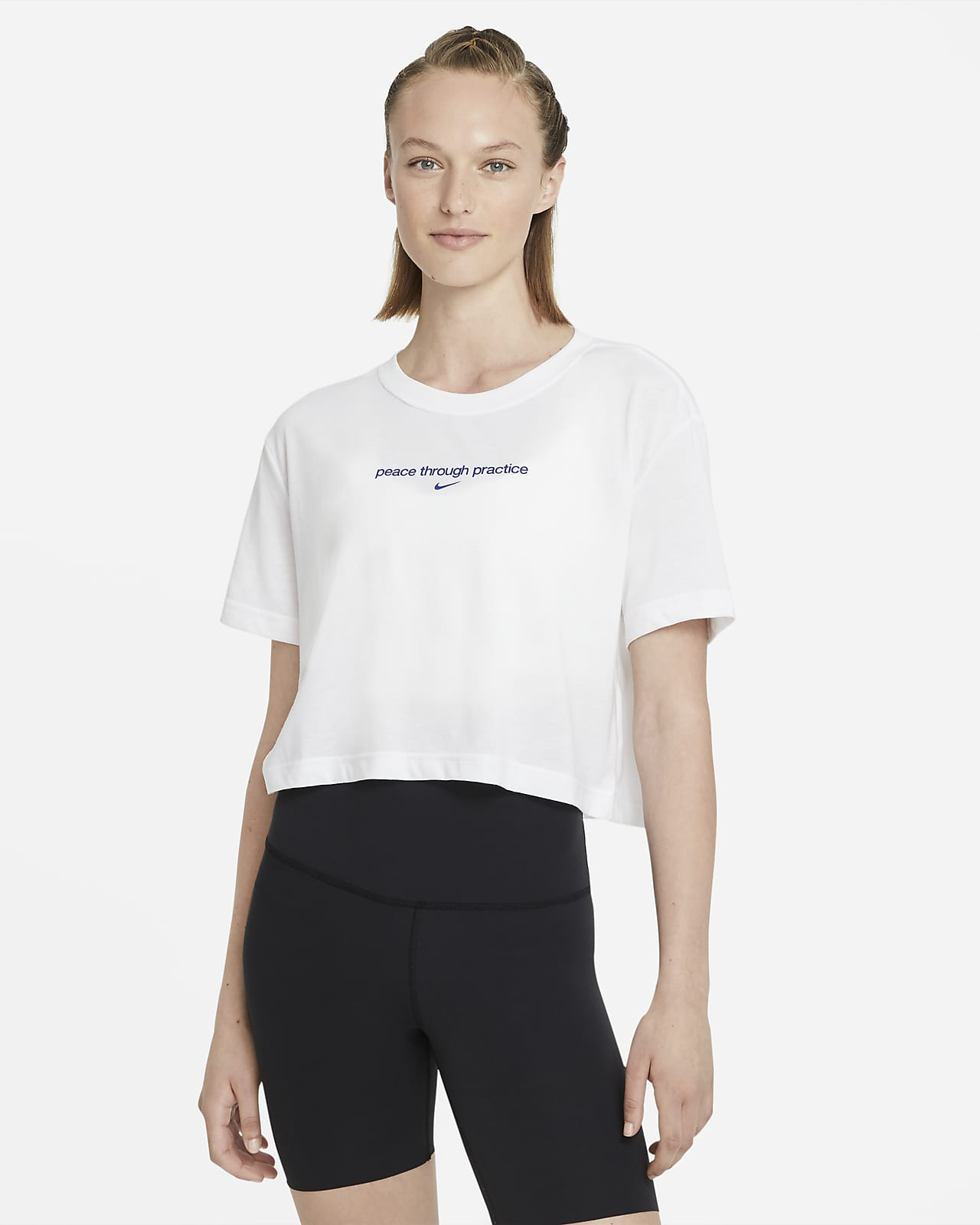 Nike Yoga Kurz-Grafik-T-Shirt für Damen