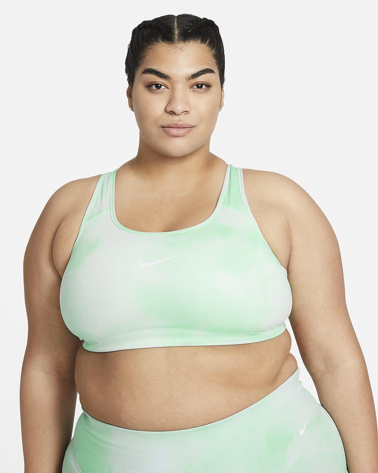 Bra deportivo estampado sin almohadilla de media sujeción, talla grande para mujer Nike Dri-FIT Swoosh Icon Clash