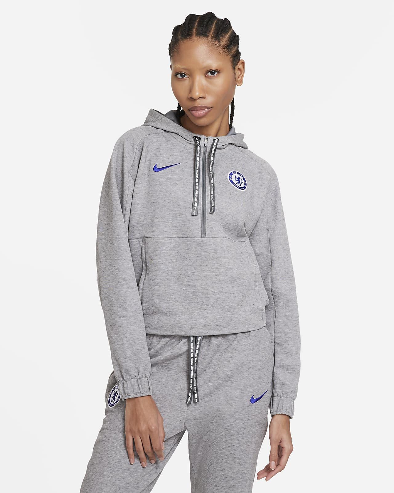 Sweat à capuche de football court à demi-zip Chelsea FC pour Femme
