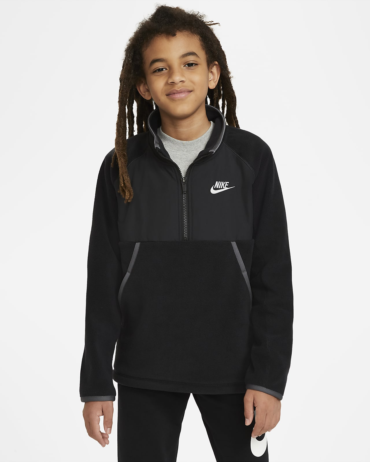 Nike Sportswear vinteroverdel med glidelås i halsen til store barn (gutt)