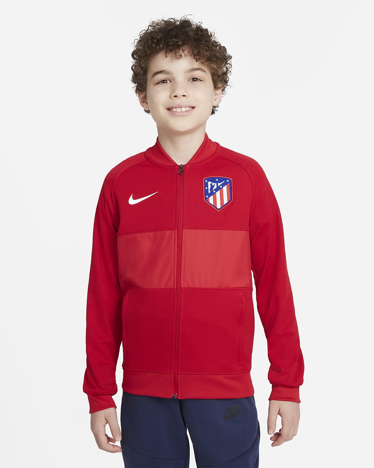 Chamarra de entrenamiento de fútbol con cierre completo para niños talla grande Atlético de Madrid