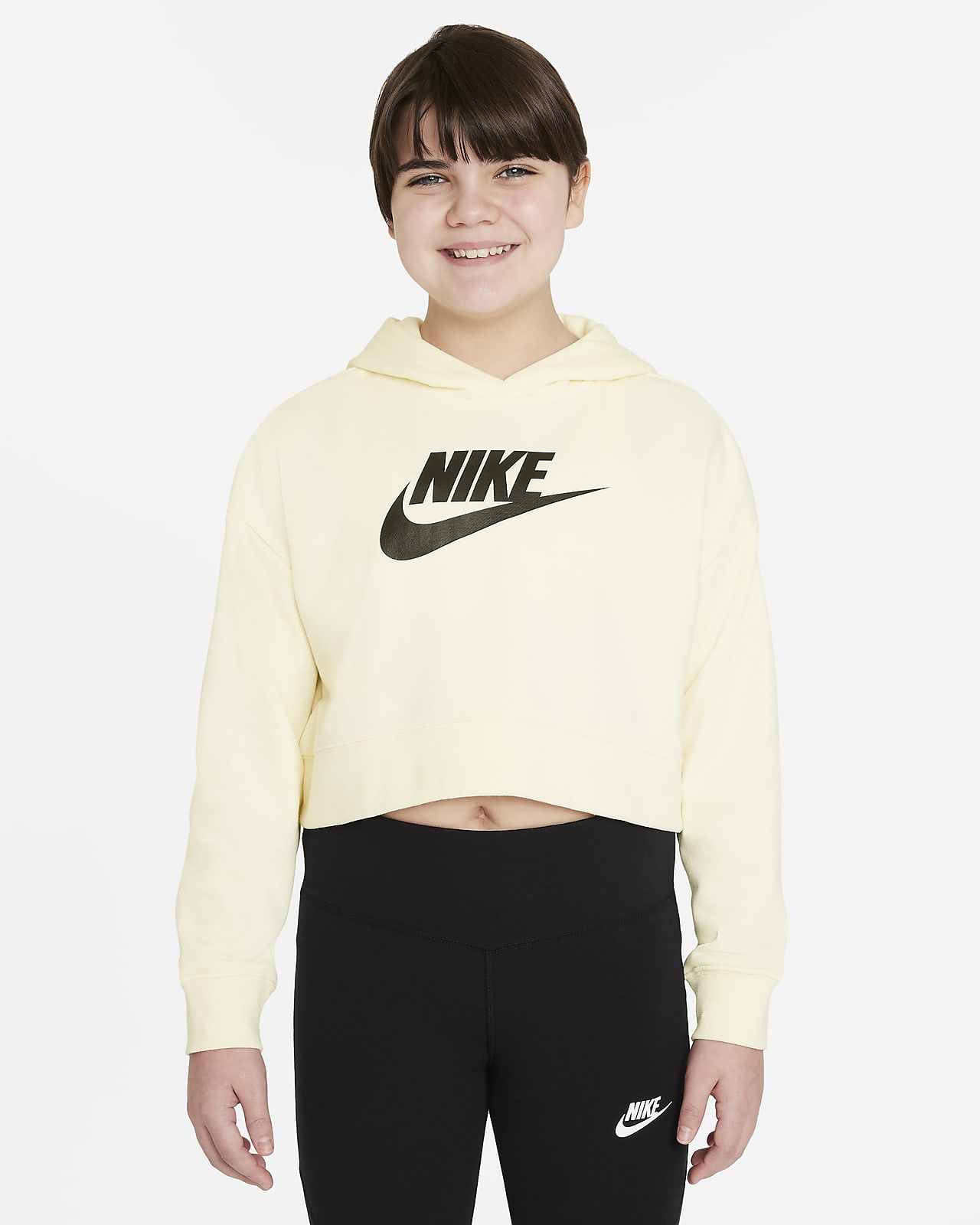 Nike Sportswear Club Big Kids' (Girls') French Terry Cropped Hoodie (Extended Size)