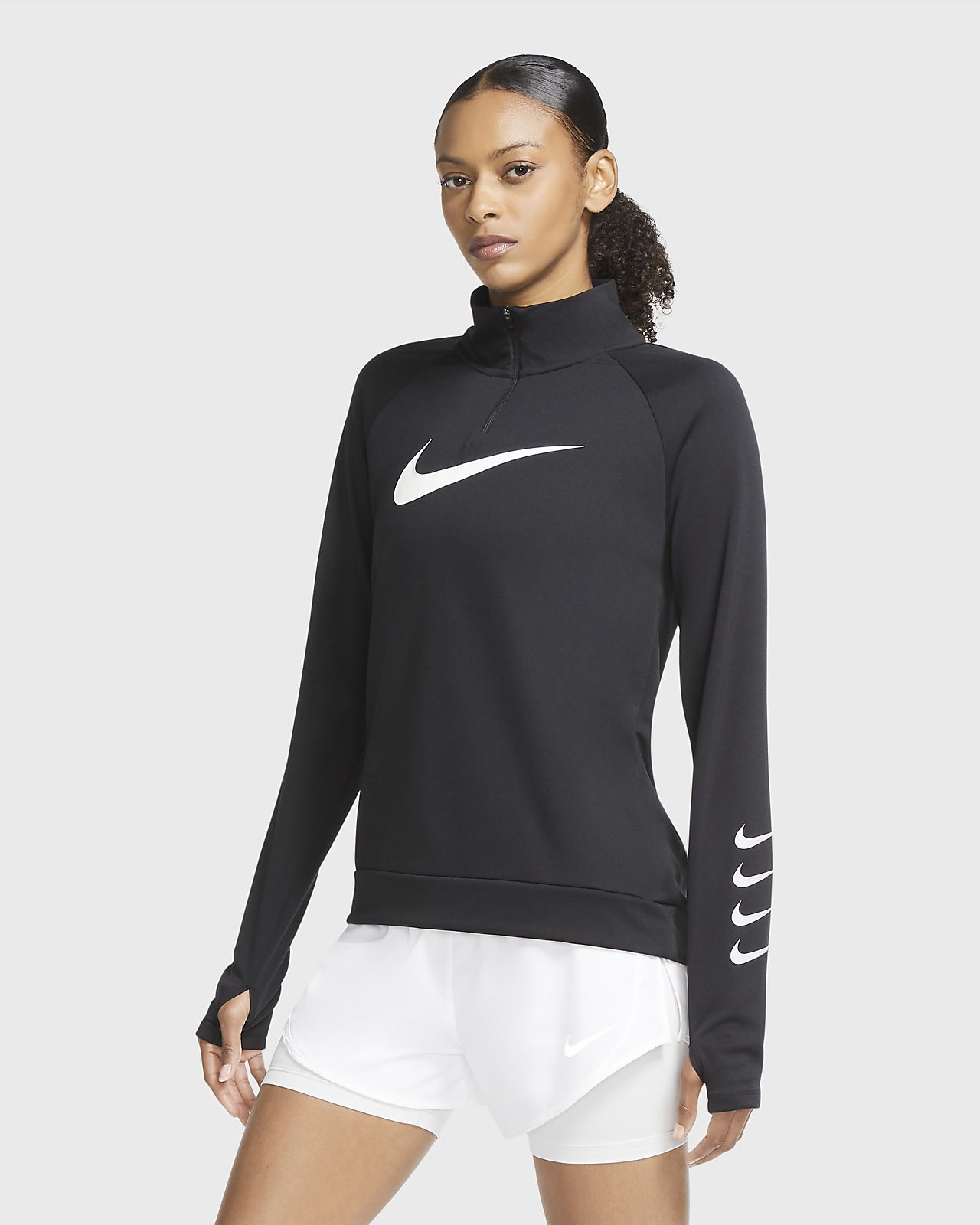 Camisola de running com fecho a meio Nike Swoosh Run para mulher