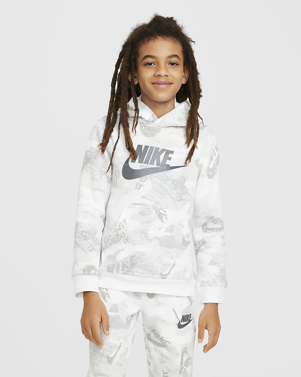 Nike Sportswear Club Fleece Big Kids' (Boys') Printed Pullover Hoodie