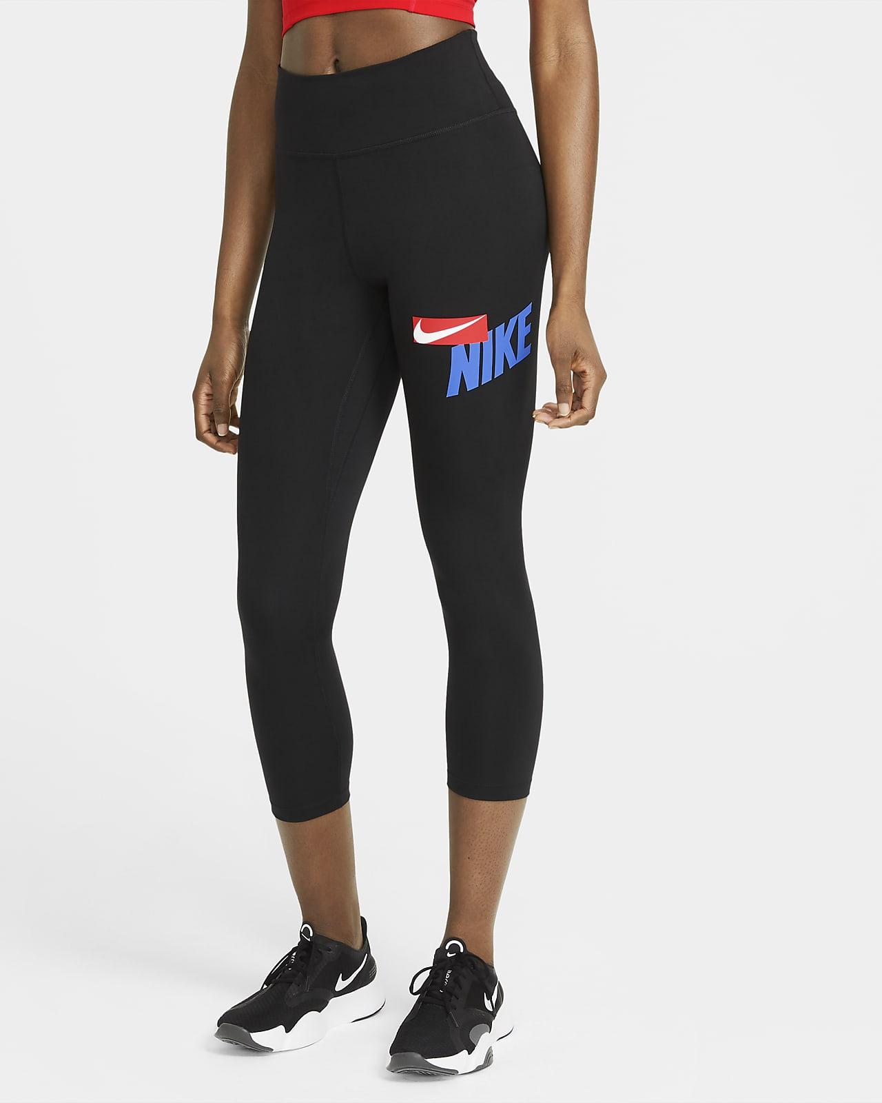 Nike One 3/4-Leggings mit halbhohem Bund und Grafik für Damen