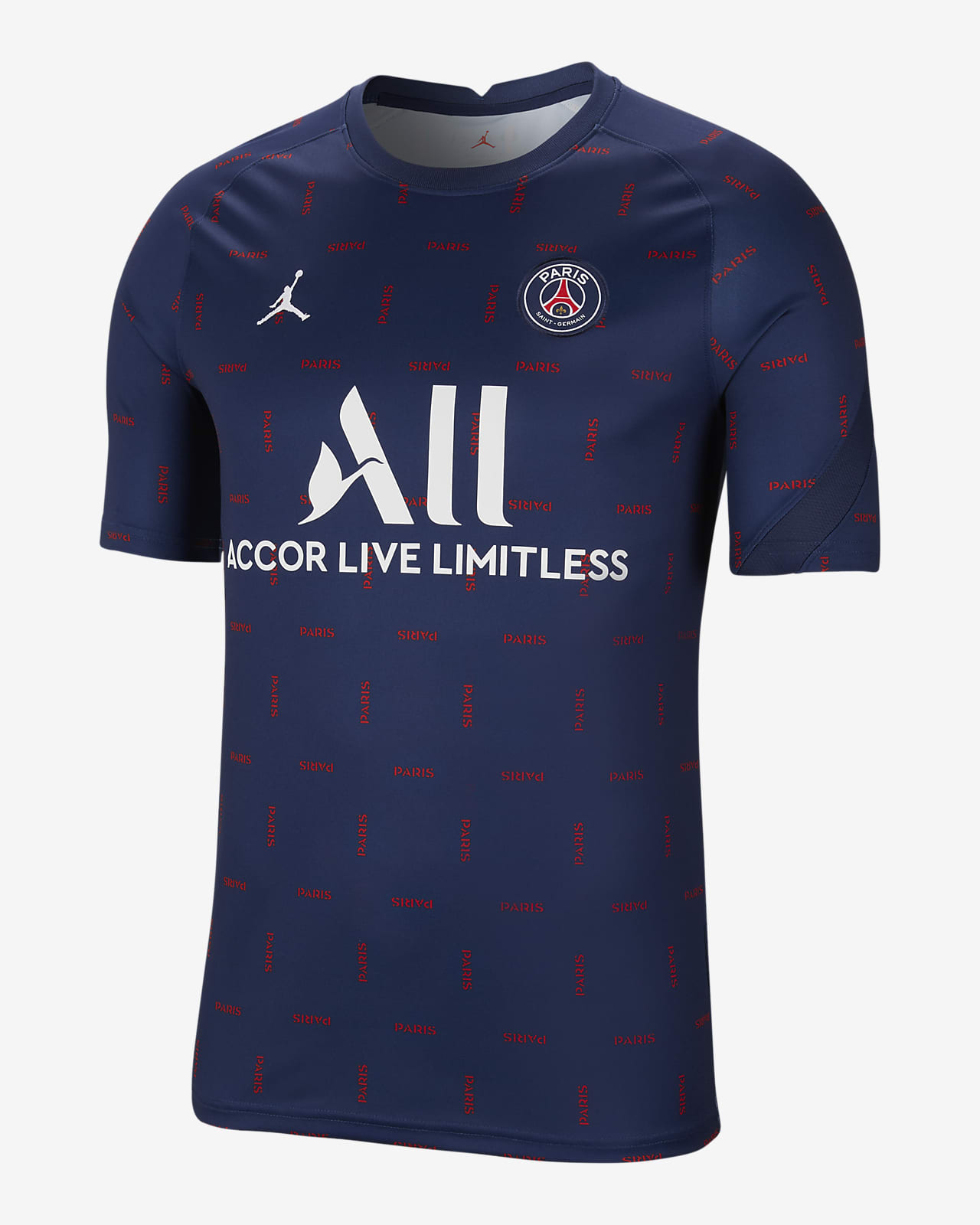 Camiseta de fútbol de manga corta para antes del partido para hombre Paris Saint-Germain