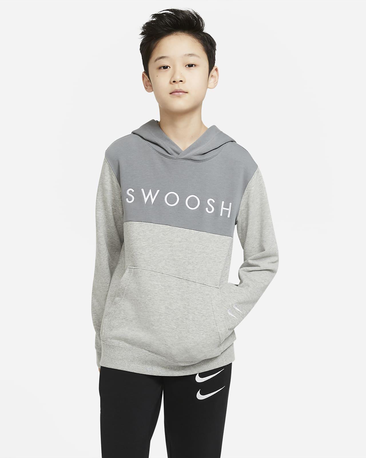 Nike Sportswear Swoosh-hættetrøje i frotté til store børn (drenge)