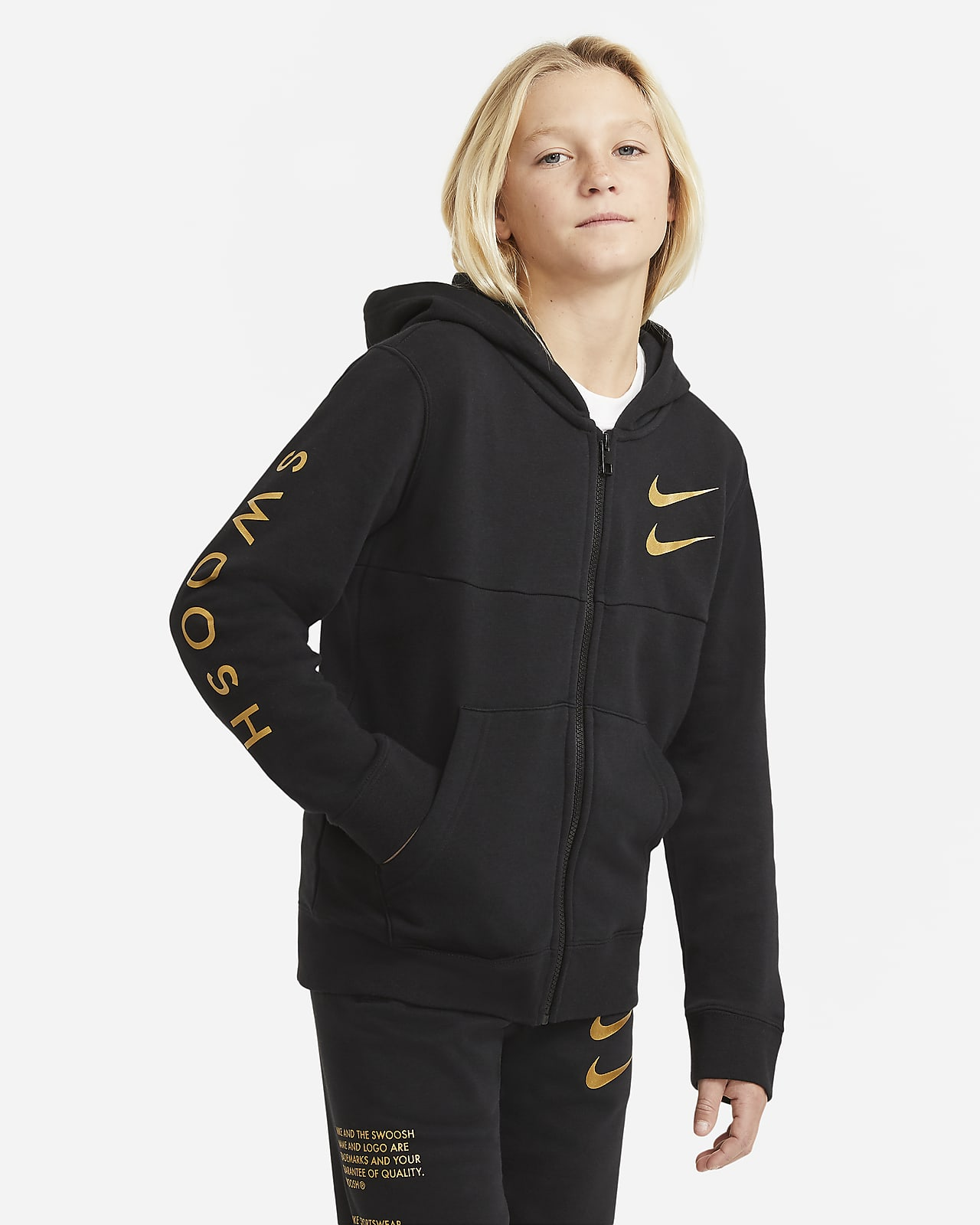 Hoodie com fecho completo Nike Sportswear Swoosh Júnior (Rapaz)