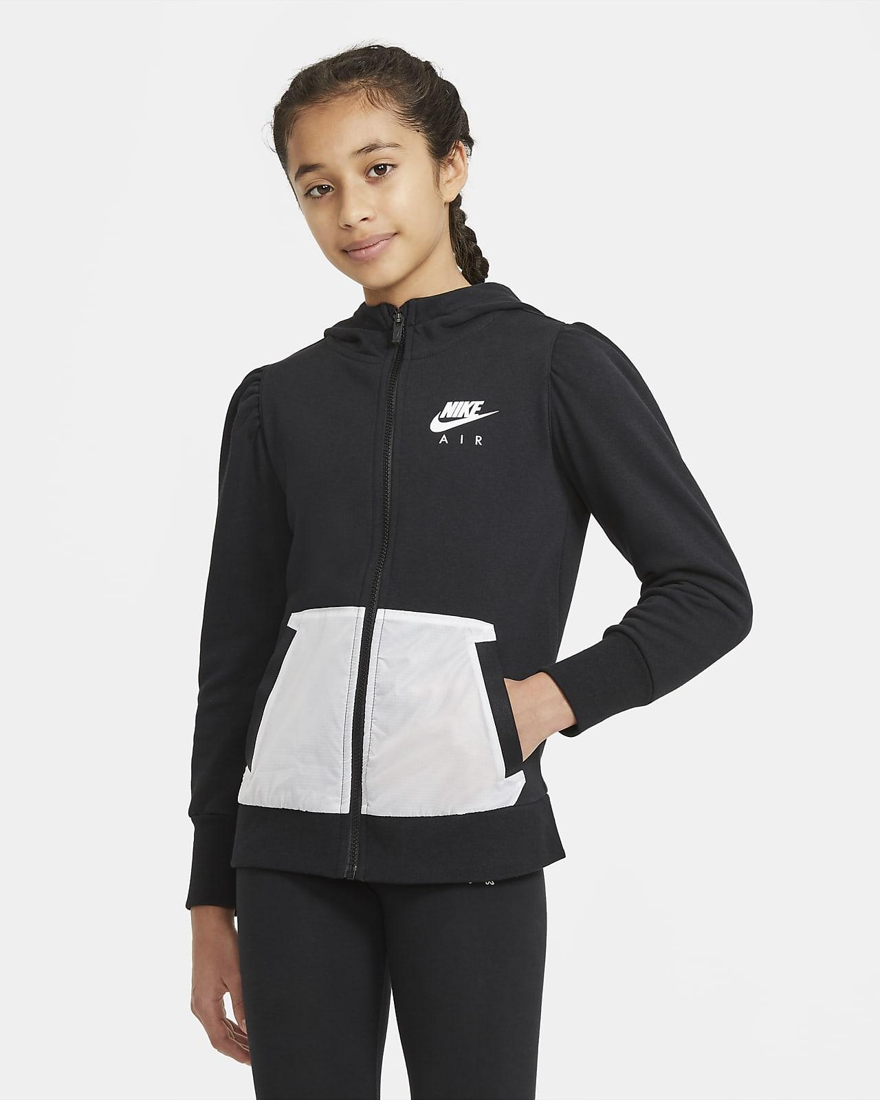 Nike Air-hættetrøje i french terry med lynlås i fuld længde til store børn (piger)