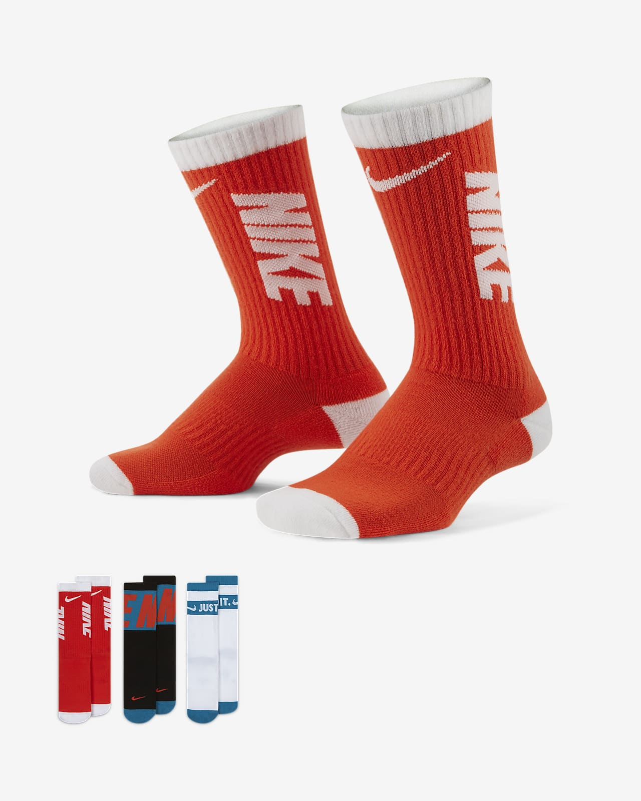 Calcetines deportivos con amortiguación para niños Nike Everyday (3 pares)