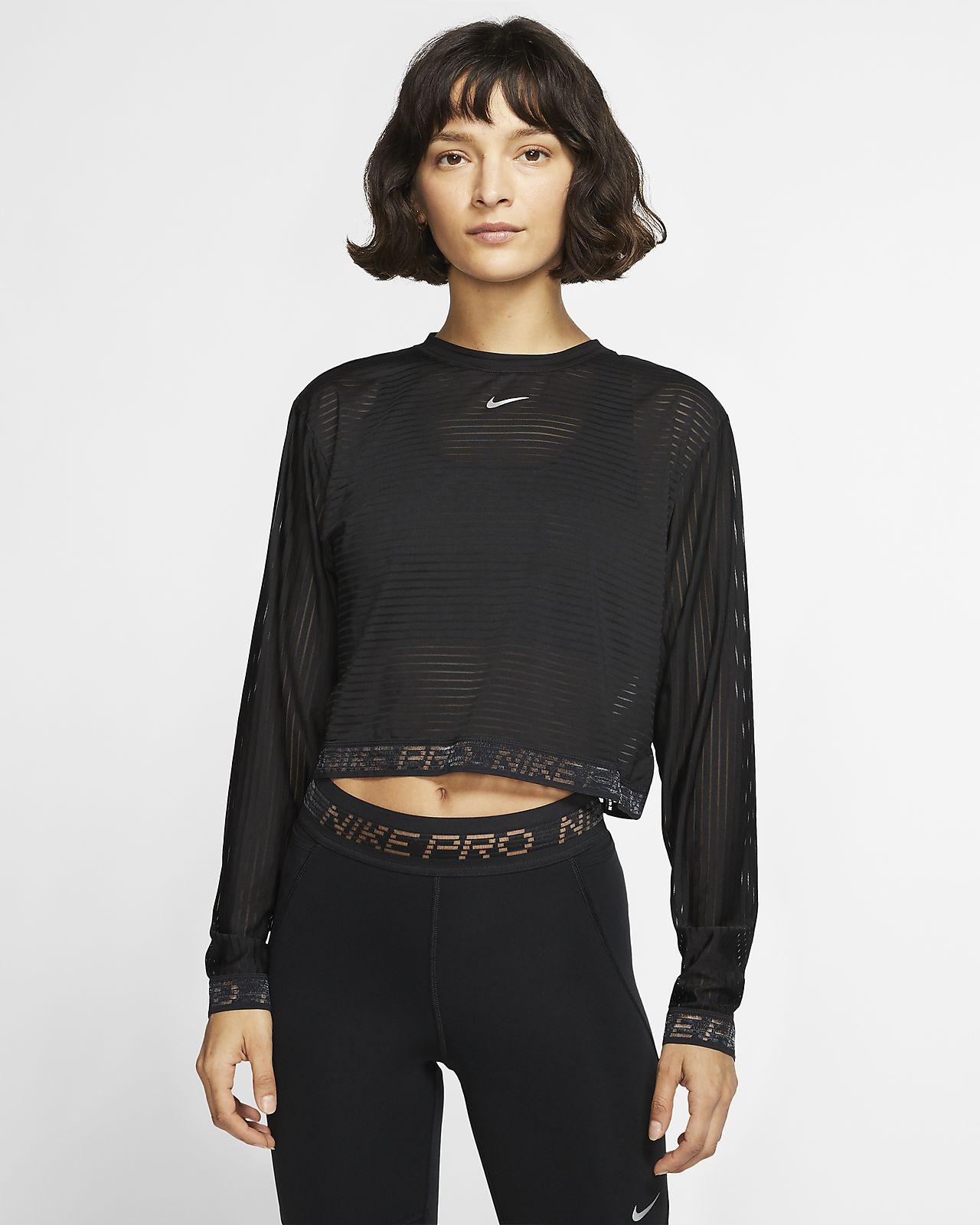 Top corto de malla de manga larga para mujer Nike Pro