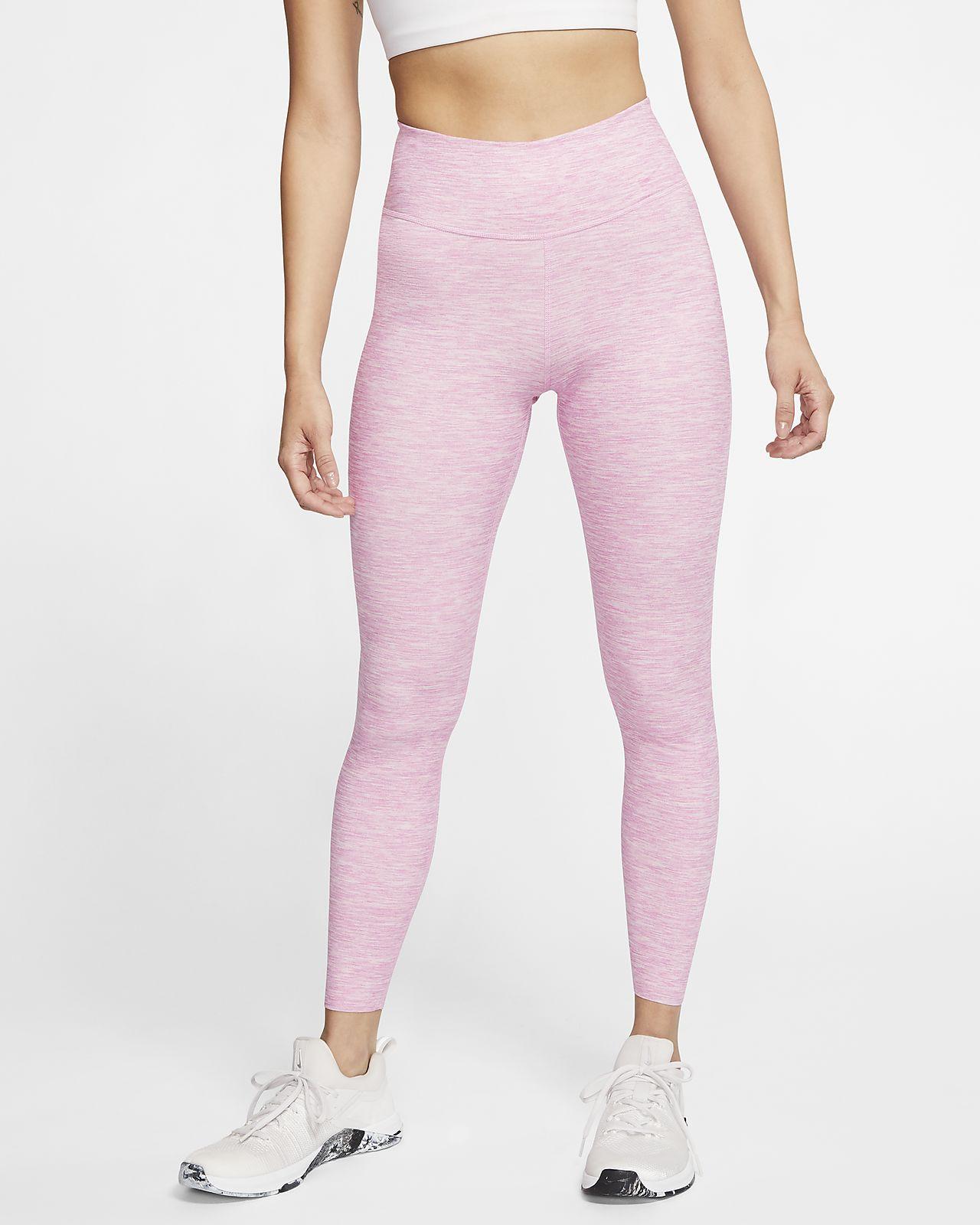 กางเกงรัดรูปเอวปานกลางผู้หญิงลายฮีเธอร์ Nike One Luxe