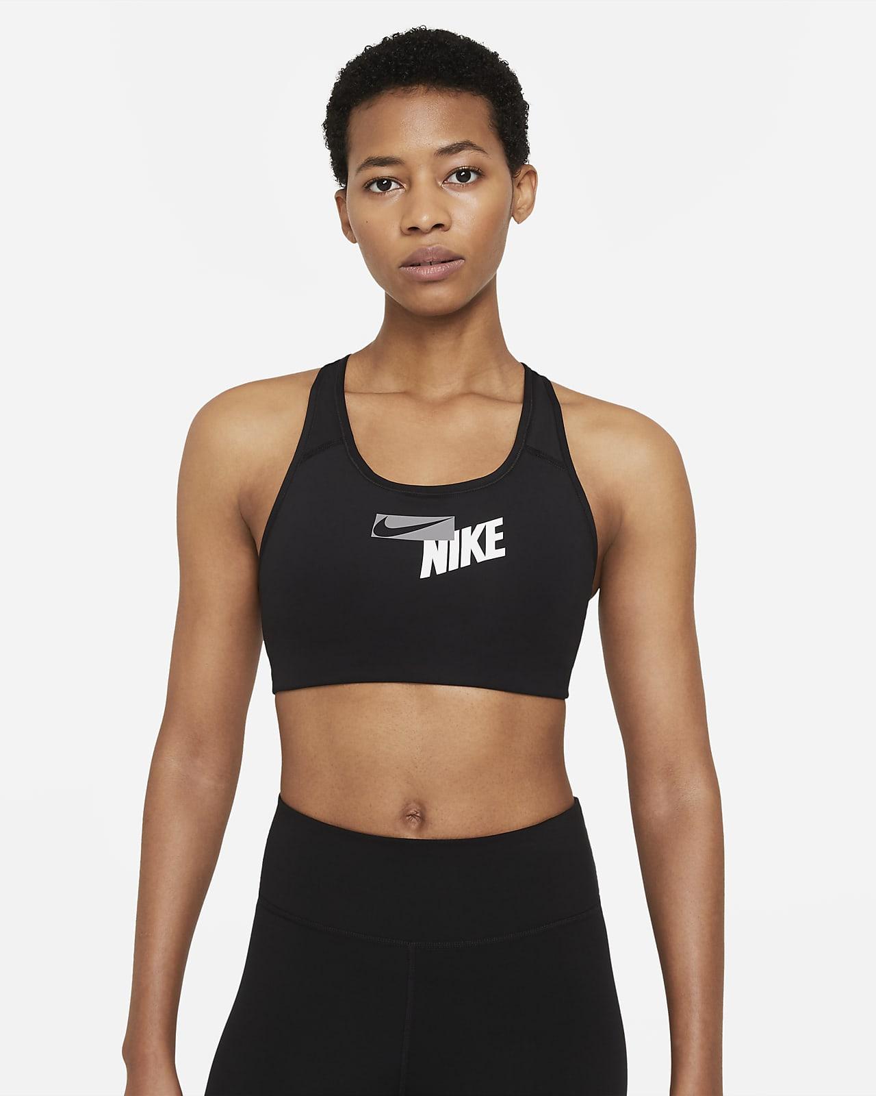 Nike Swoosh-sports-bh med logo, medium støtte og indlæg i ét stykke til kvinder