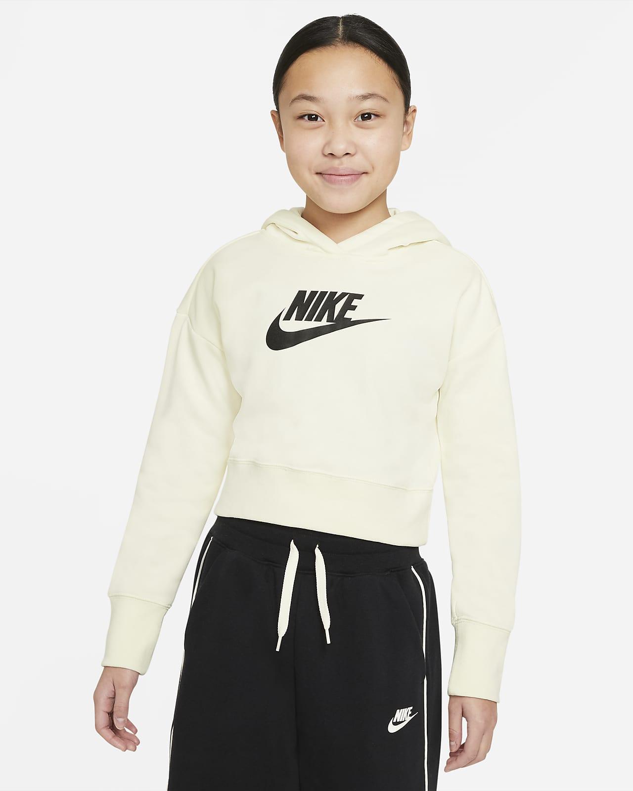 Nike Sportswear Club kort frottéhettegenser til store barn (jente)