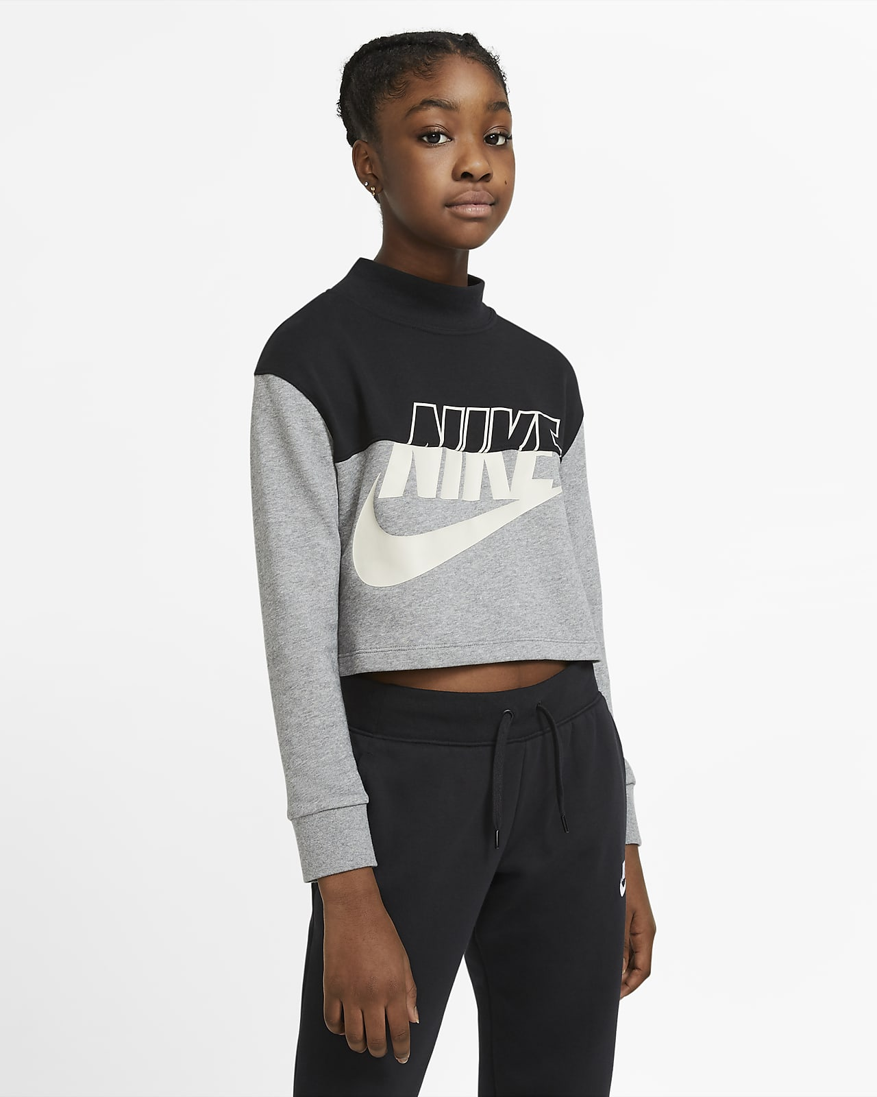 Zkrácená mikina Nike Sportswear skulatým výstřihem zfrancouzského froté pro větší děti (dívky)