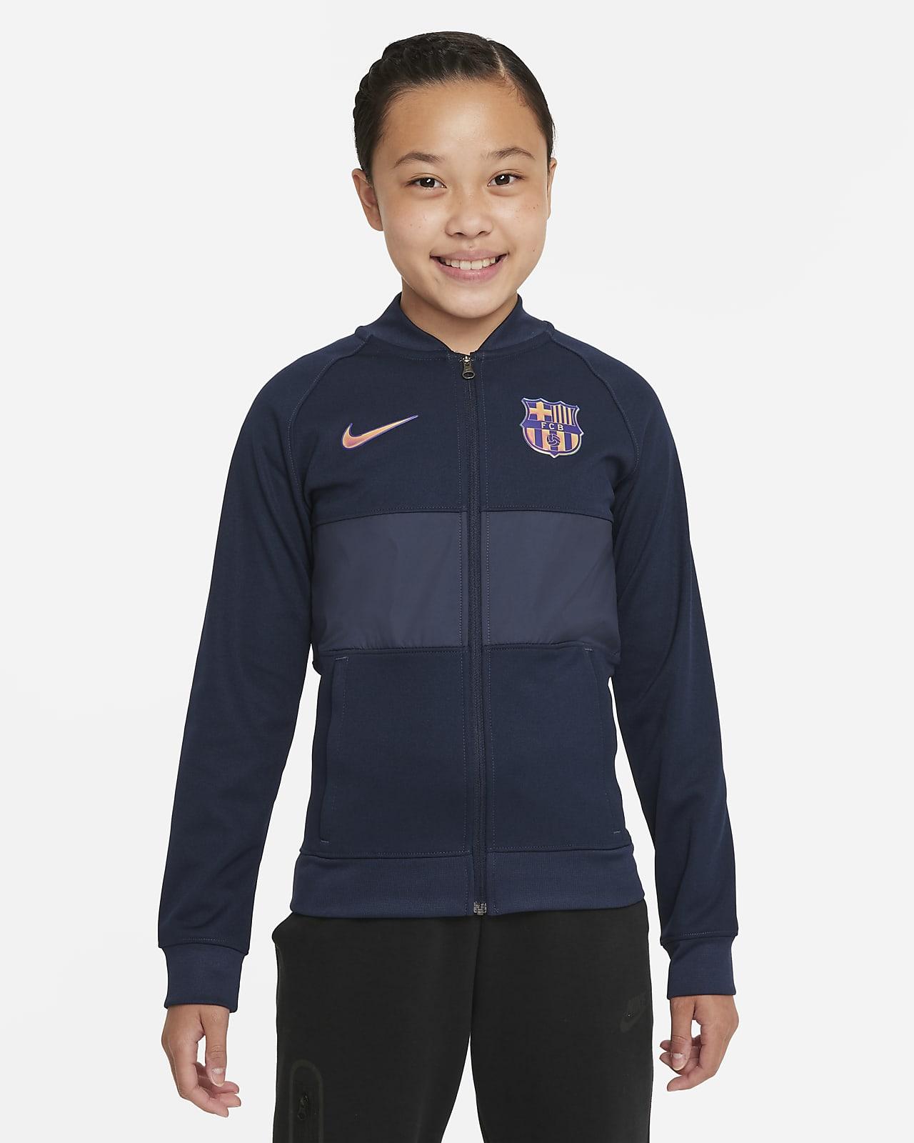 Chamarra de entrenamiento de fútbol con cierre completo para niños talla grande FC Barcelona