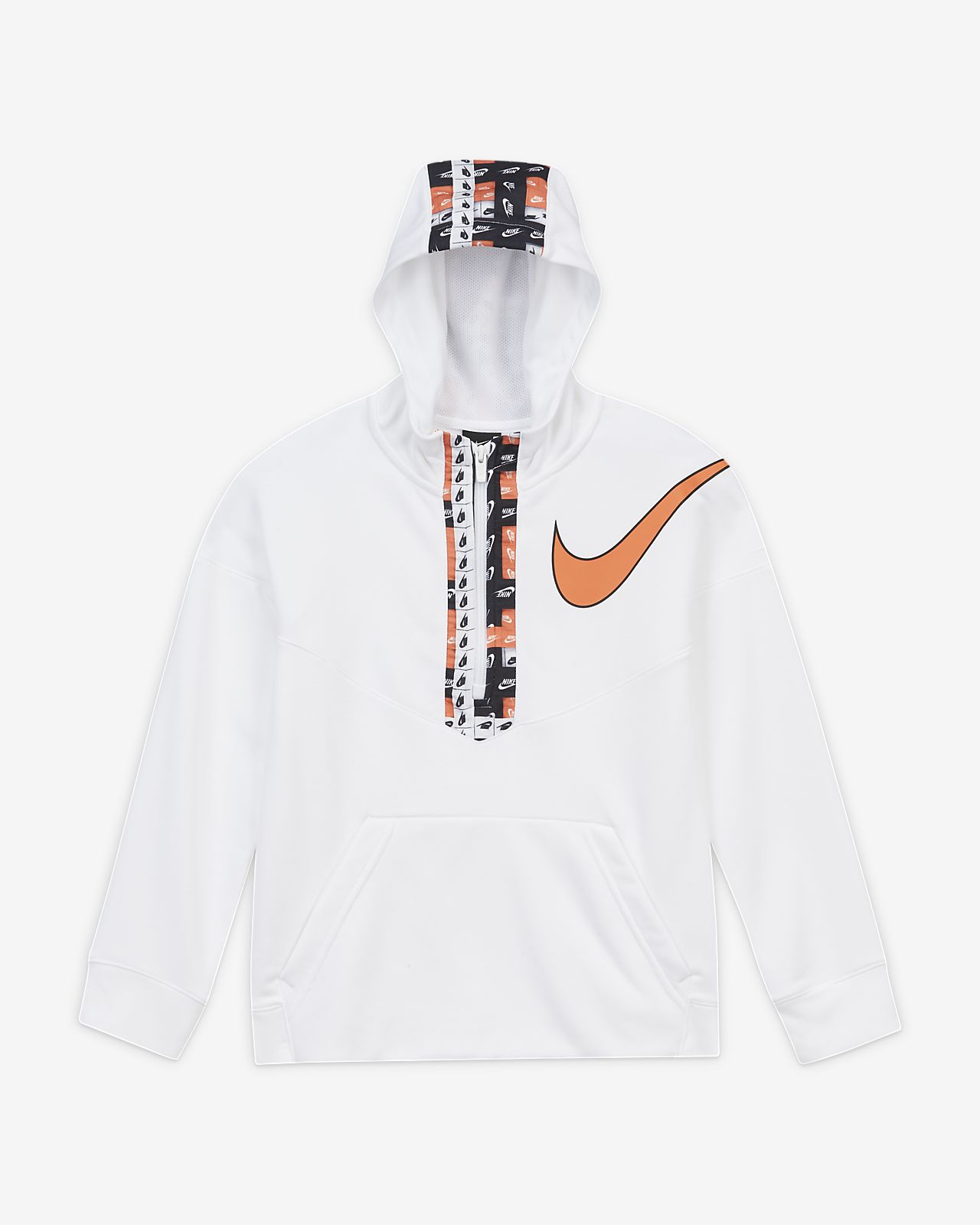 Nike Dri-FIT 大童 (男童) 圖樣半長式拉鍊訓練連帽上衣