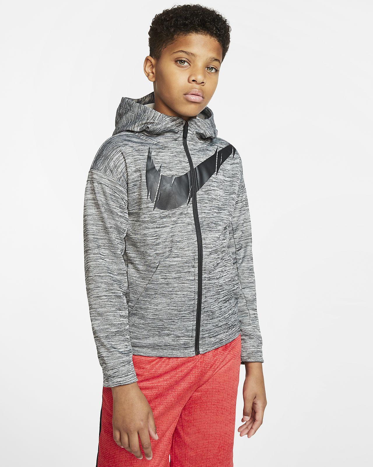 Μπλούζα προπόνησης με κουκούλα και φερμουάρ σε όλο το μήκος Nike Therma για μεγάλα αγόρια