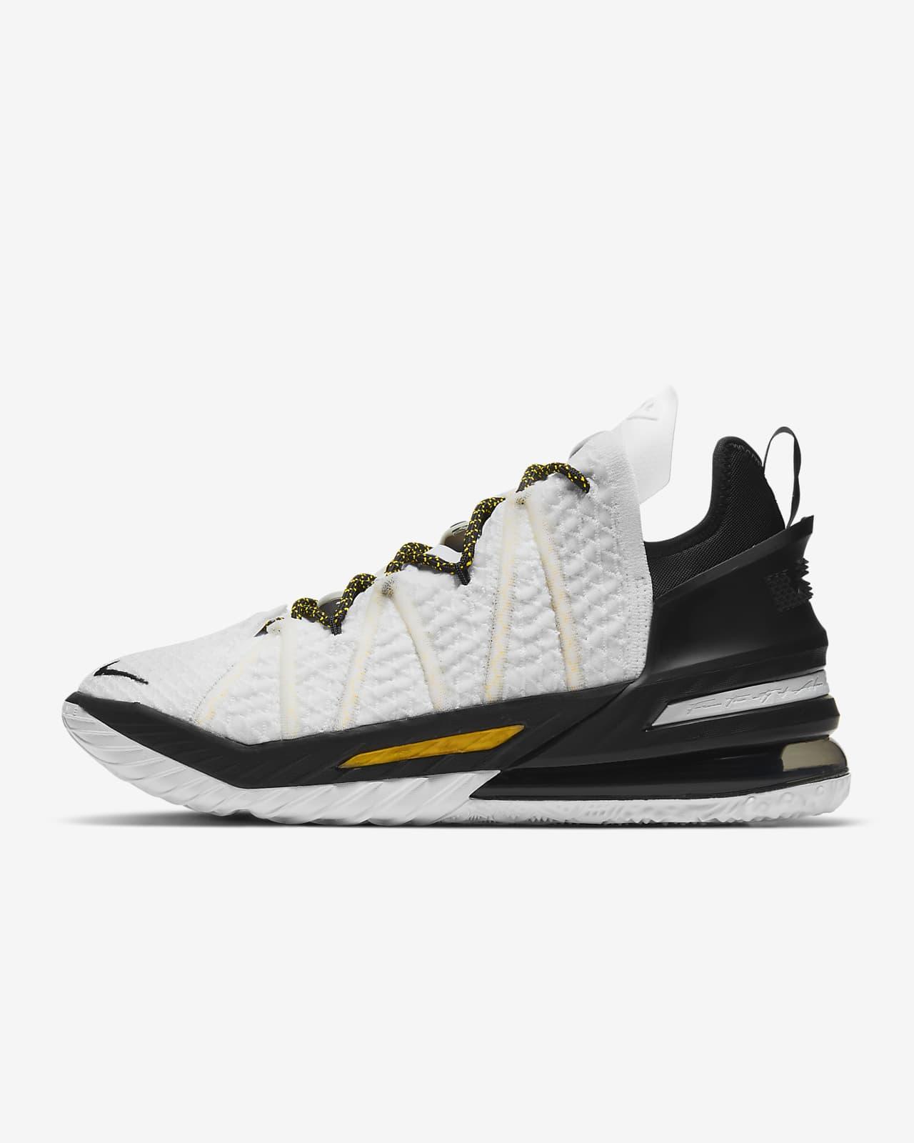 """Calzado de básquetbol LeBron 18 """"White/Black/Gold"""""""