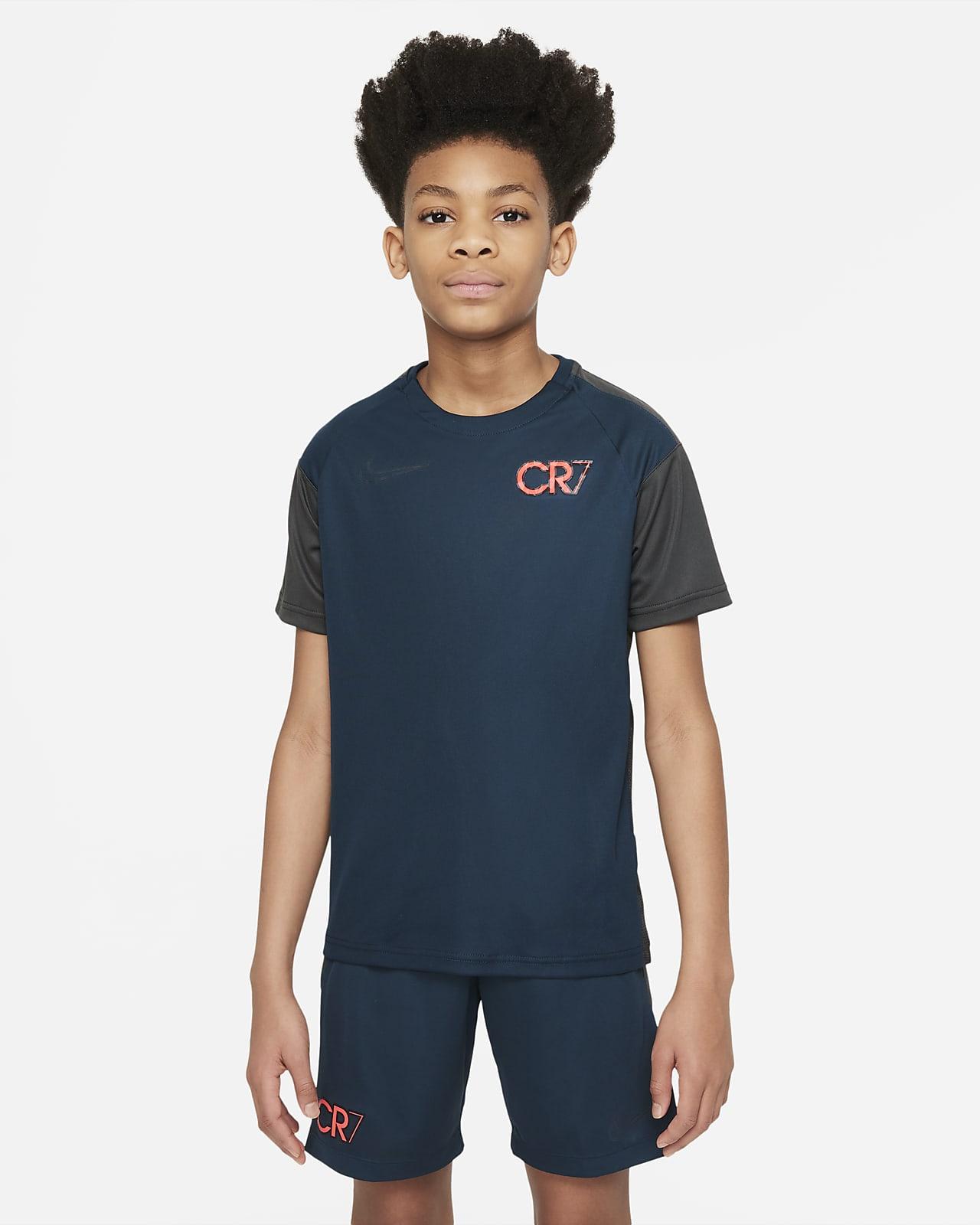 Top de fútbol de manga corta para niños talla grande Nike Dri-FIT CR7