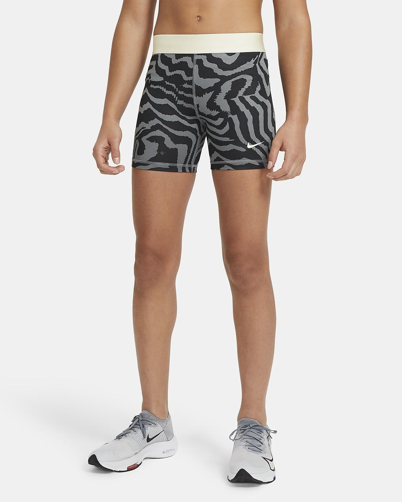 Shorts Nike Pro med tryck 7,5 cm för ungdom (tjejer)