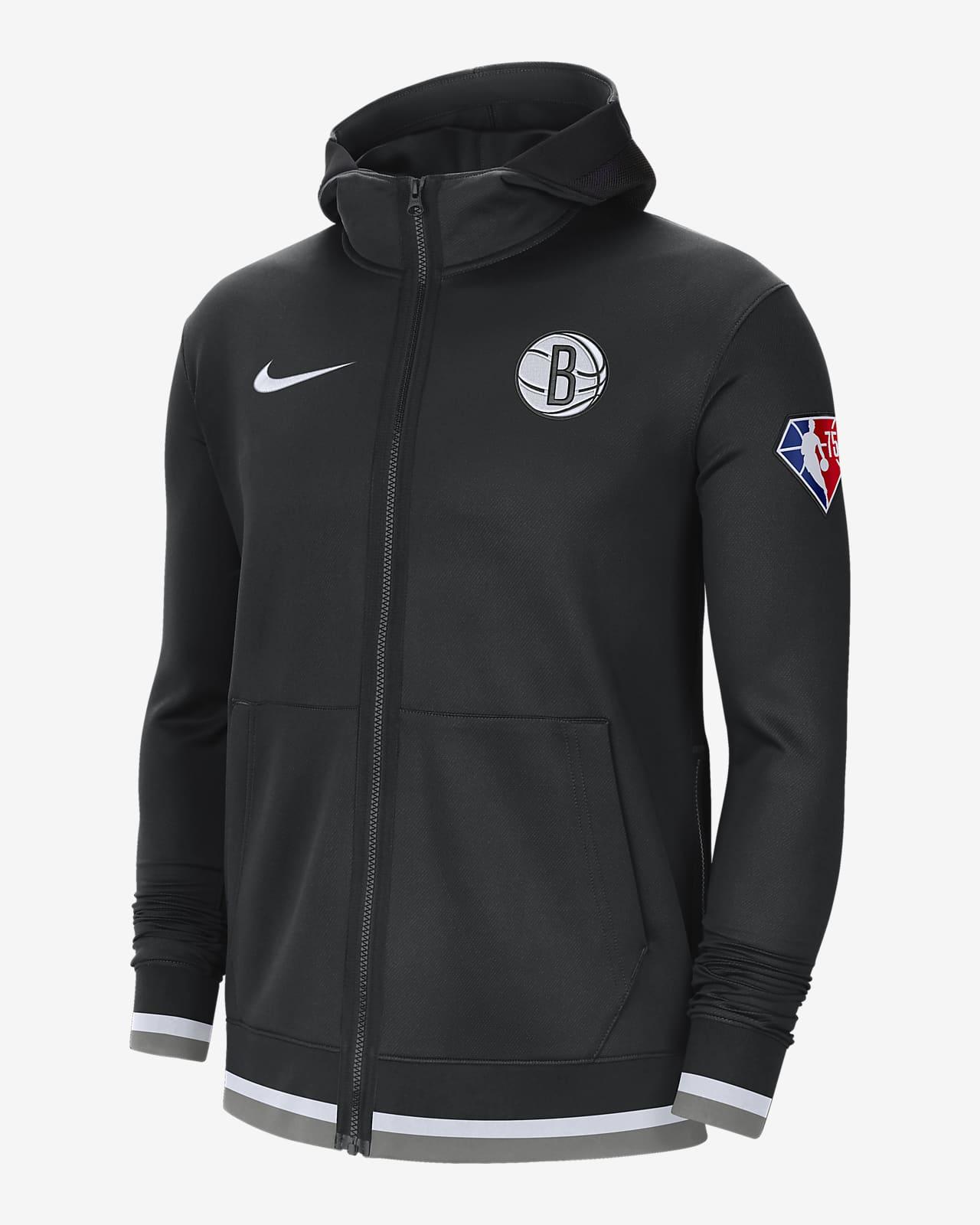 Brooklyn Nets Nike Showtime Nike NBA-hoodie met rits en Dri-FIT voor heren