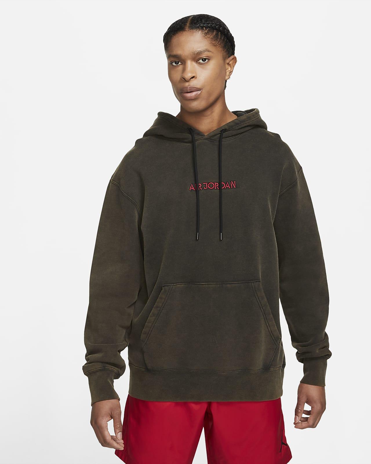 Hoodie pullover de lã cardada com grafismo Jordan AJ5 para homem