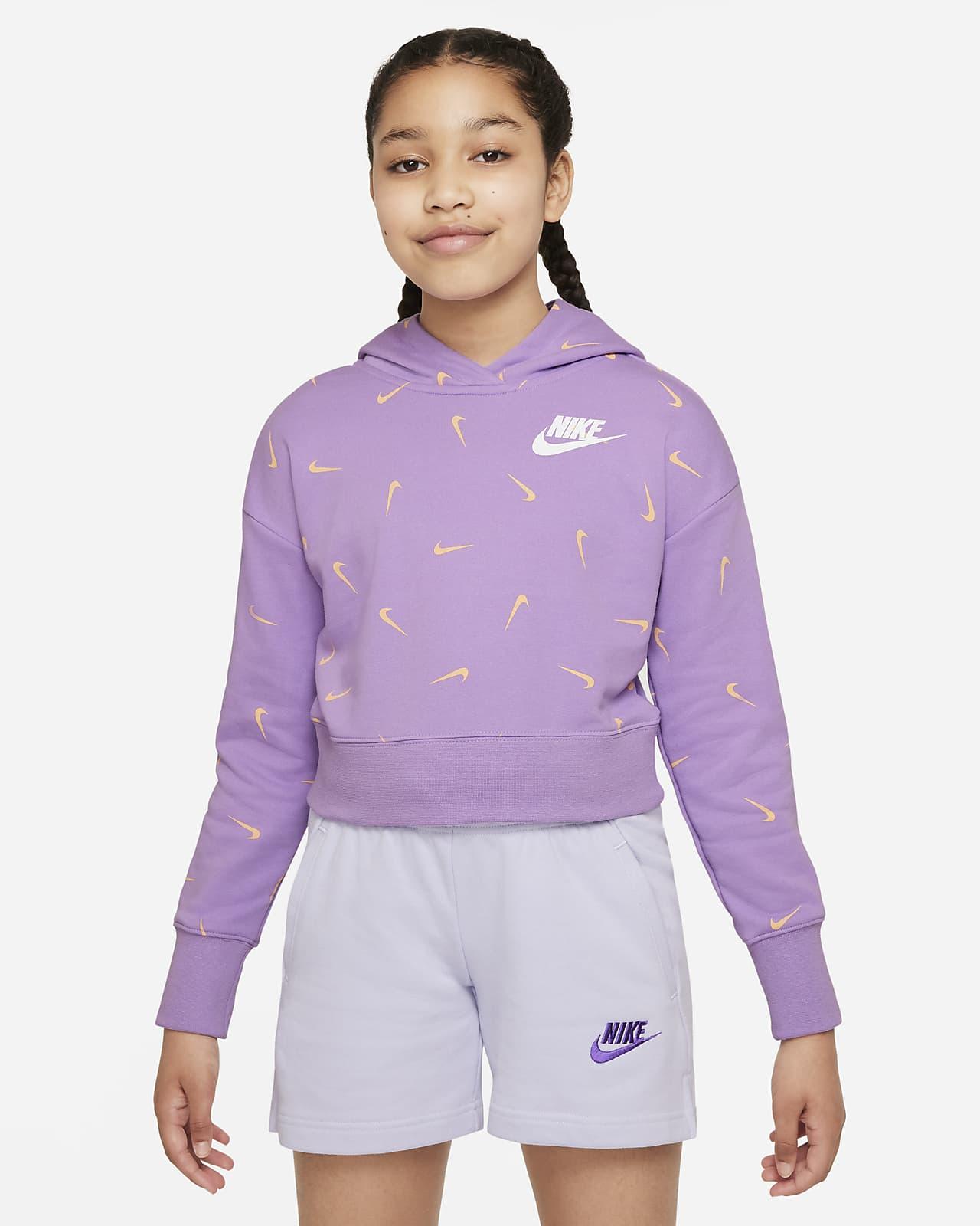 Nike Sportswear Big Kids' (Girls') Printed Crop French Terry Hoodie