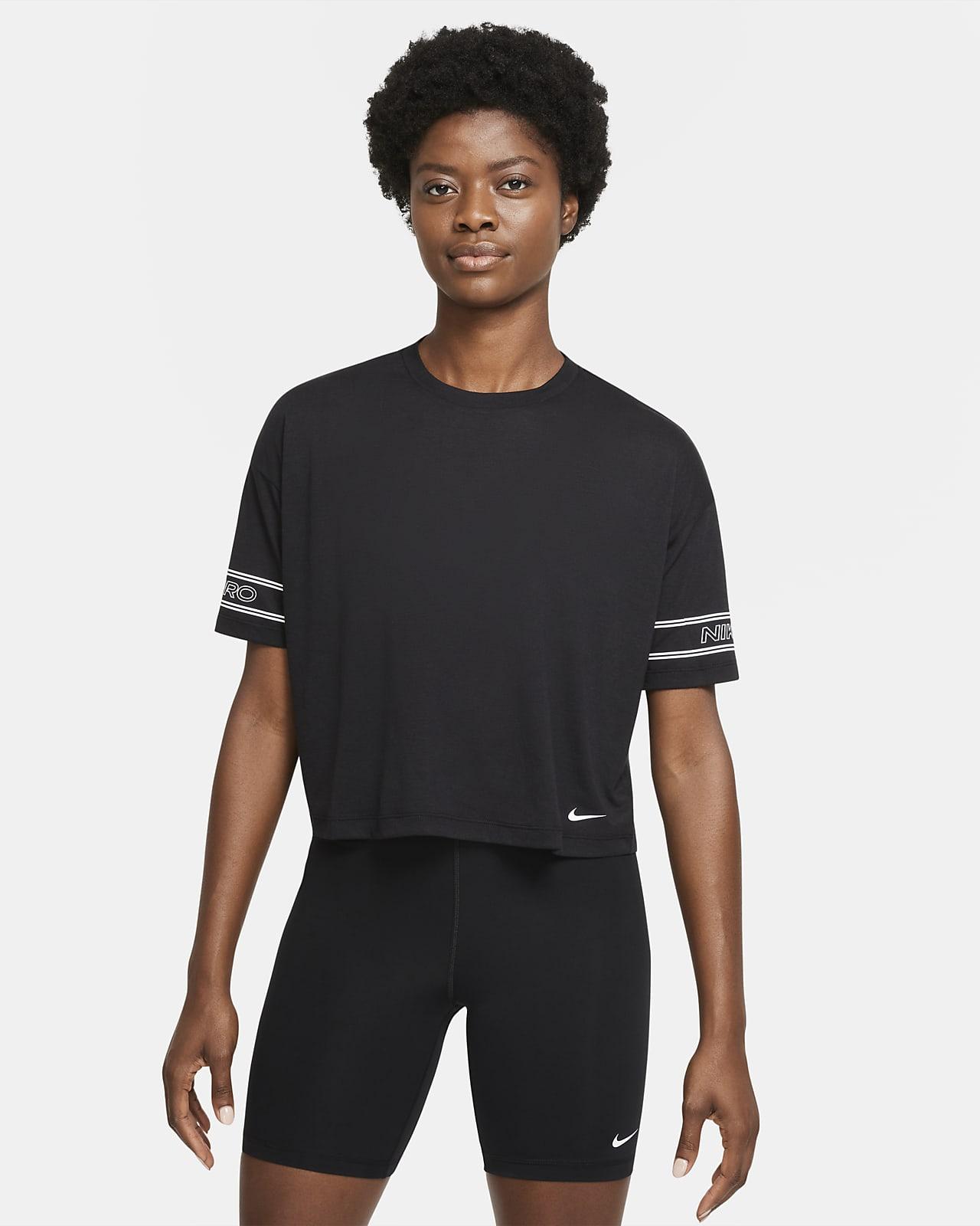 Prenda para la parte superior de manga corta con gráfico para mujer Nike Pro