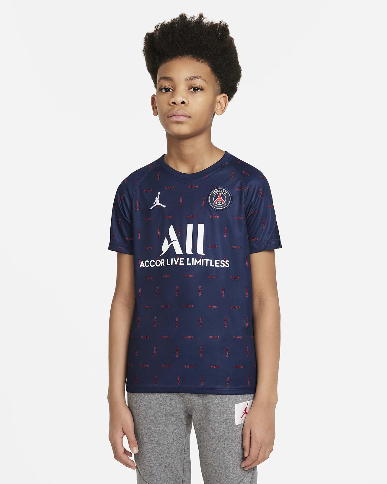 Paris Saint-Germain Home Older Kids' Pre-Match Short-Sleeve Football Top