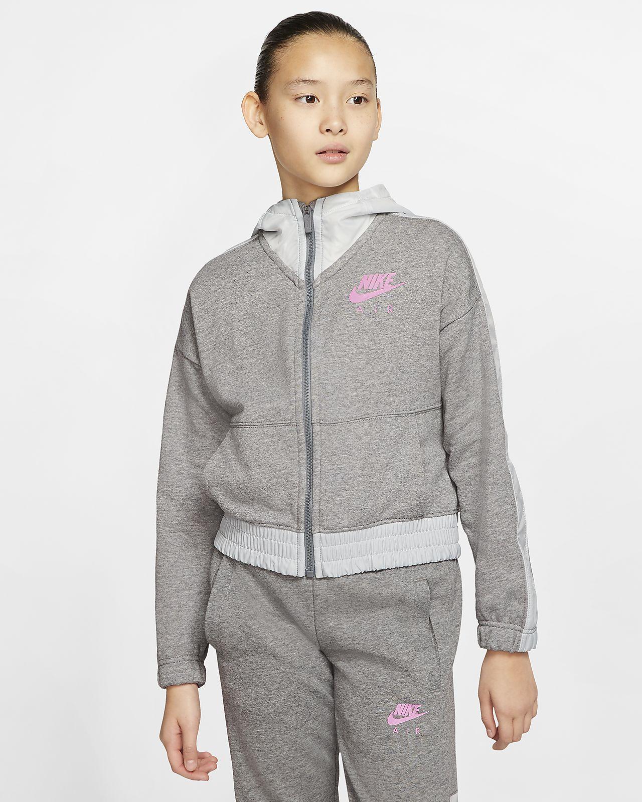 Nike Air hettejakke med hel glidelås til store barn (jente)