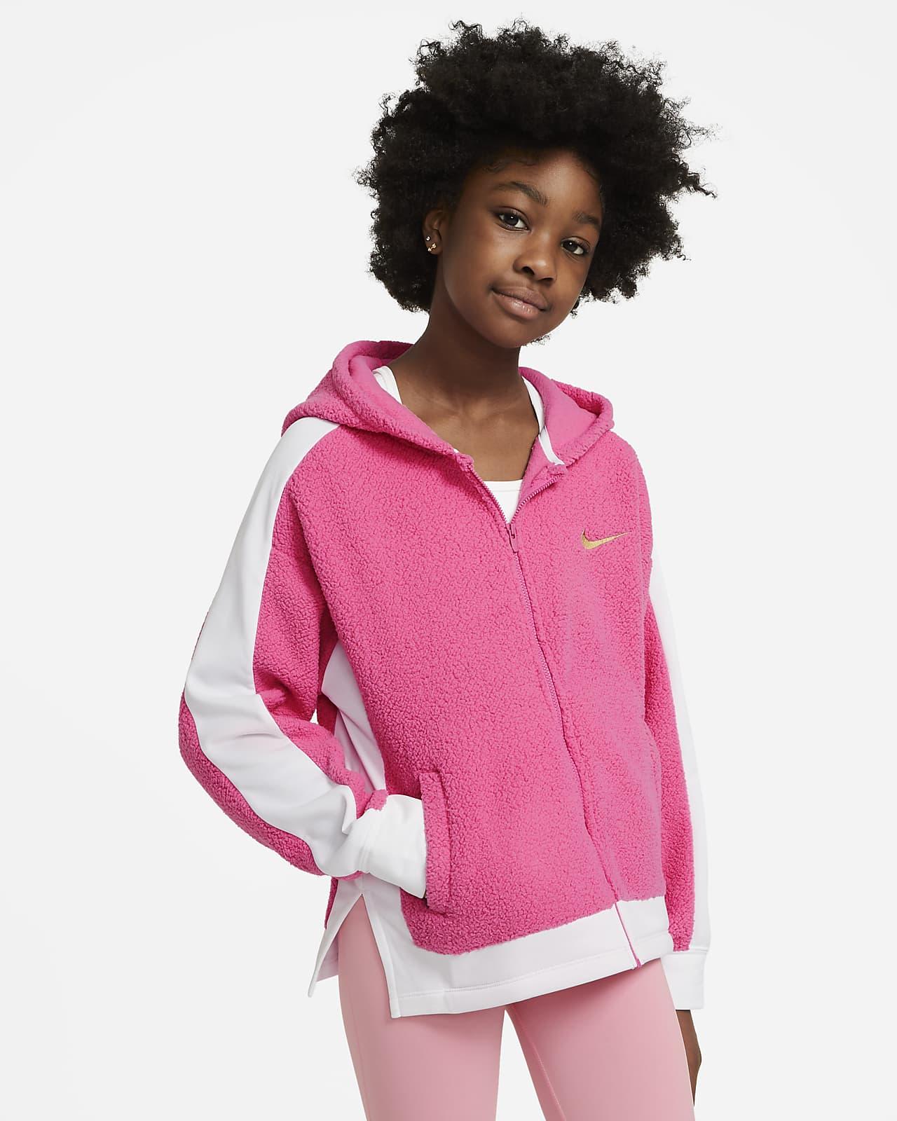 Tréninková mikina Nike Therma s kapucí a dlouhým zipem pro větší děti (dívky)