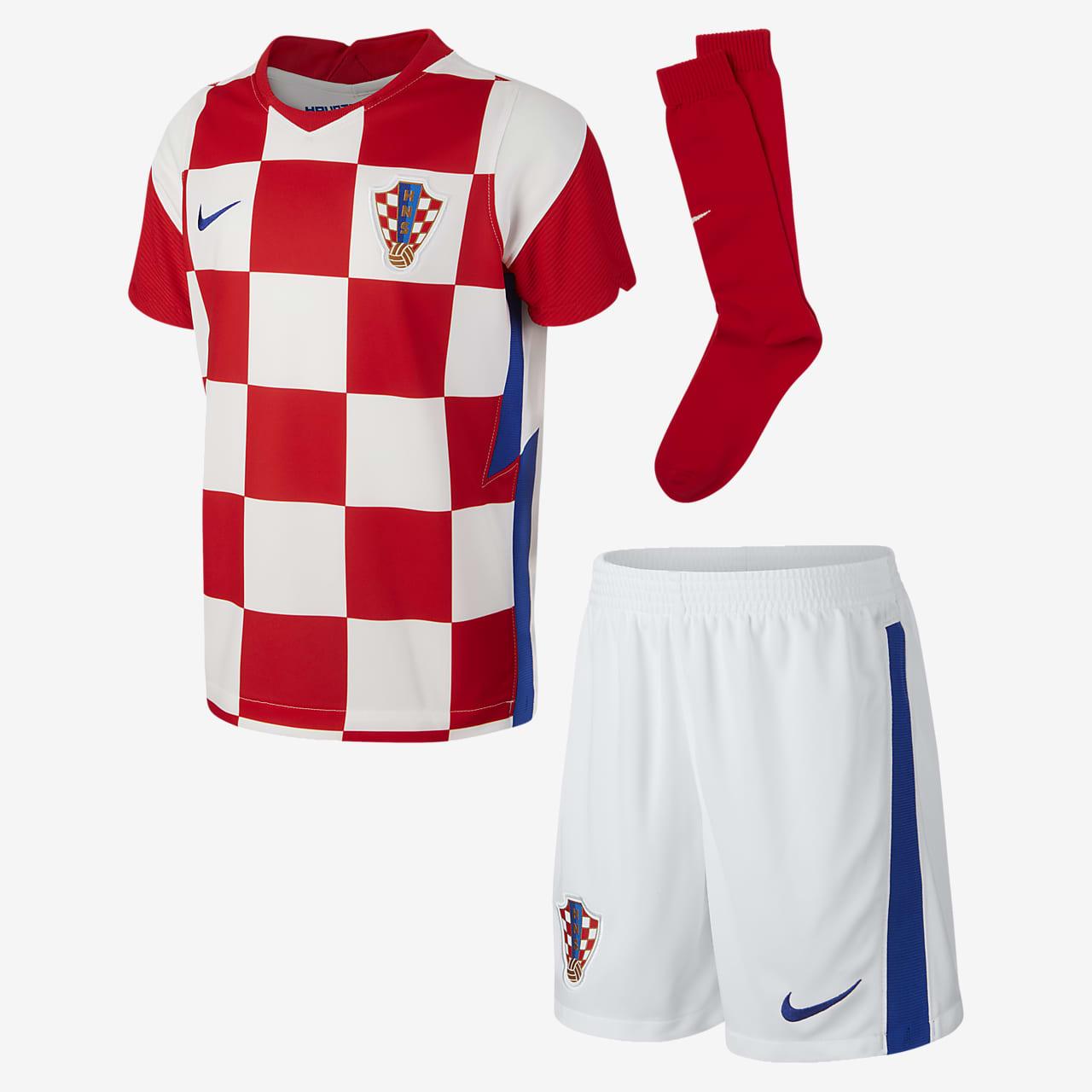 Футбольный комплект для дошкольников с символикой домашней формы сборной Хорватии 2020