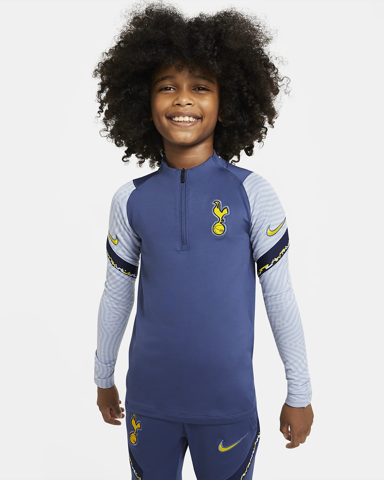 Tottenham Hotspurs Strike-fodboldtræningstrøje med lynlås i kvart længde til store børn