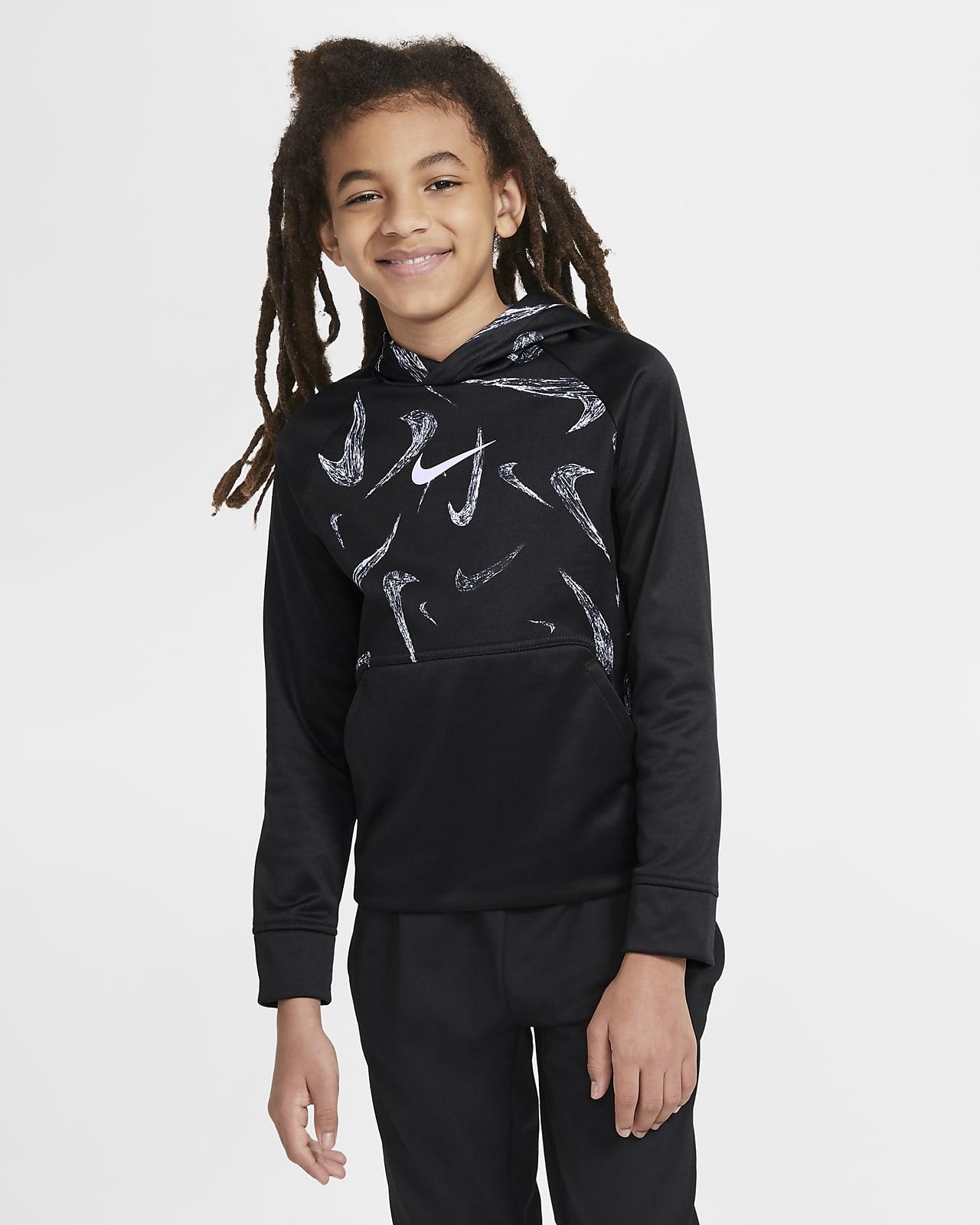 Sudadera con capucha sin cierre de entrenamiento estampada para niños talla grande Nike Therma